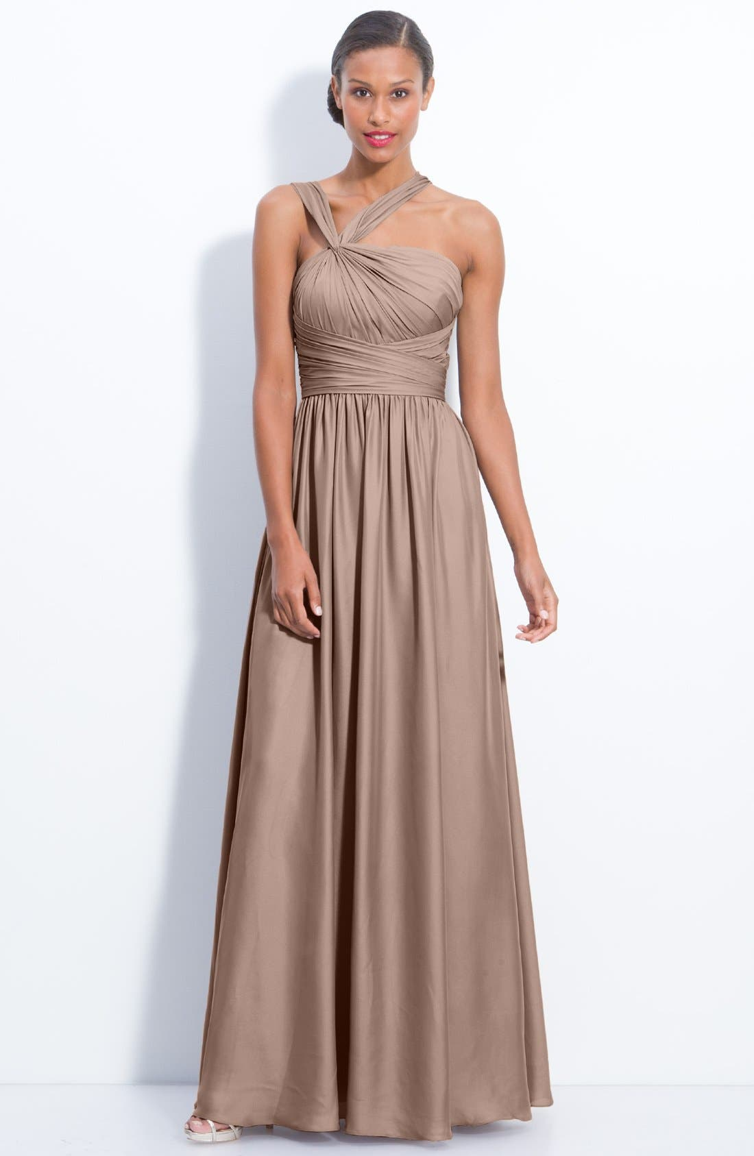 Main Image - Monique Lhuillier Bridesmaids Twist Shoulder Satin Chiffon Gown (Nordstrom Exclusive)