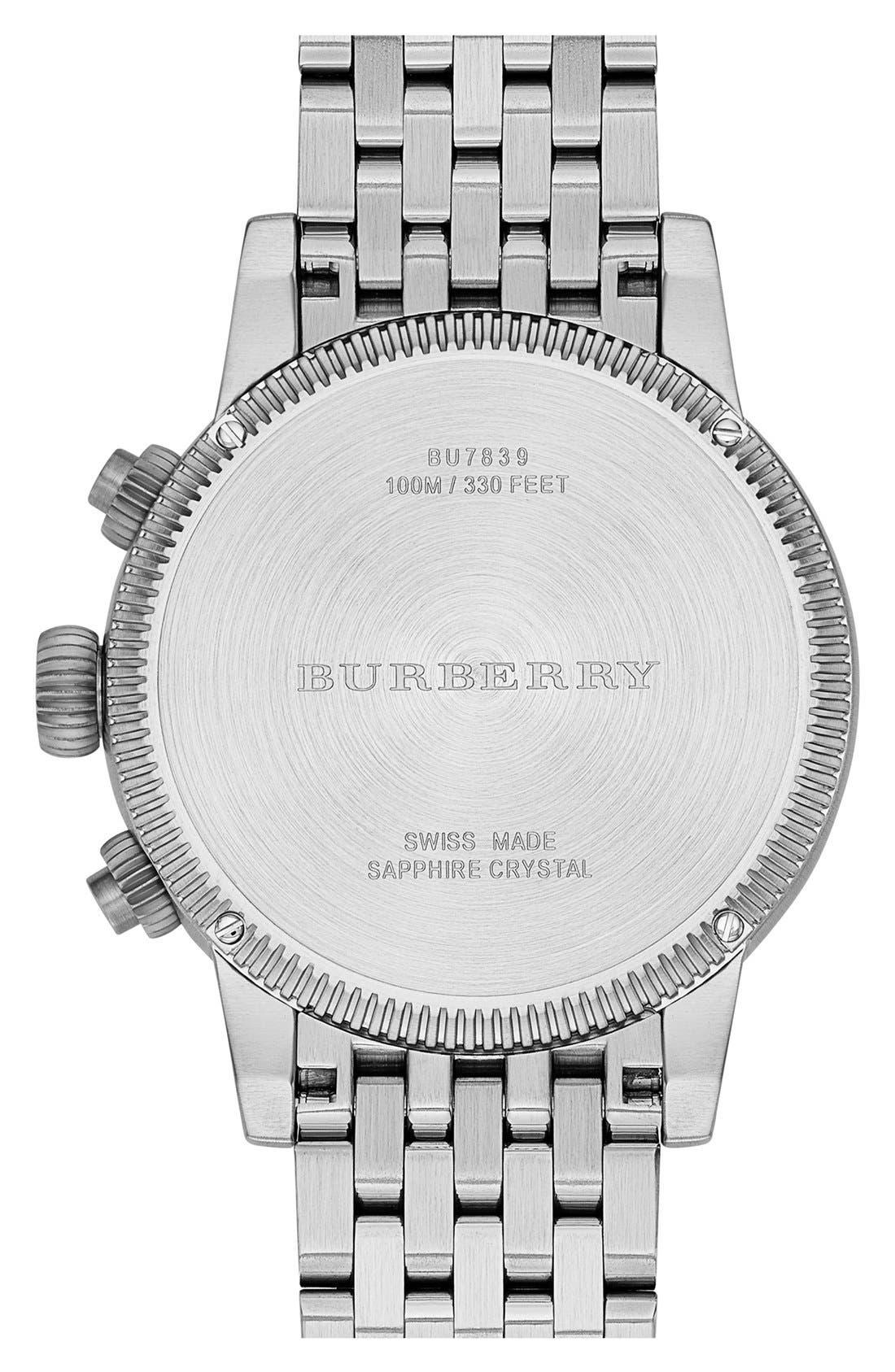 Alternate Image 4  - Burberry Round Chronograph Bracelet Watch, 42mm