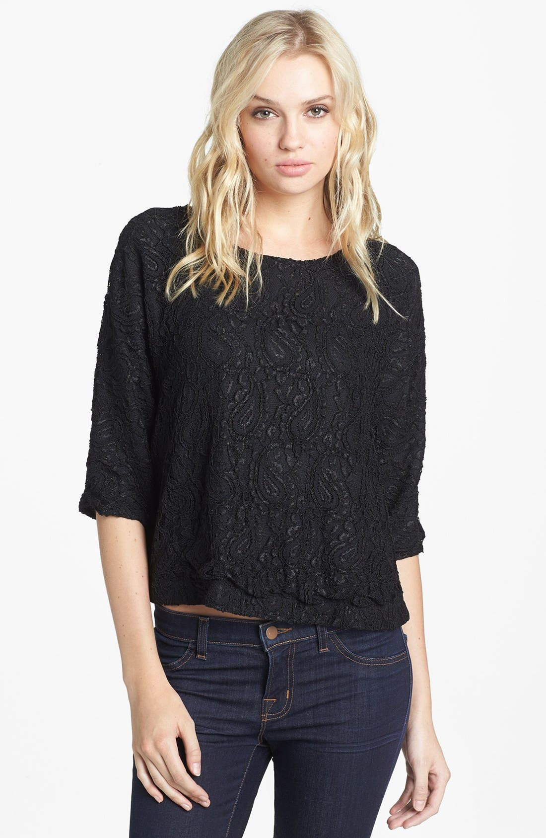Main Image - Lovers + Friends 'Intuition' Lace Envelope Back Blouse