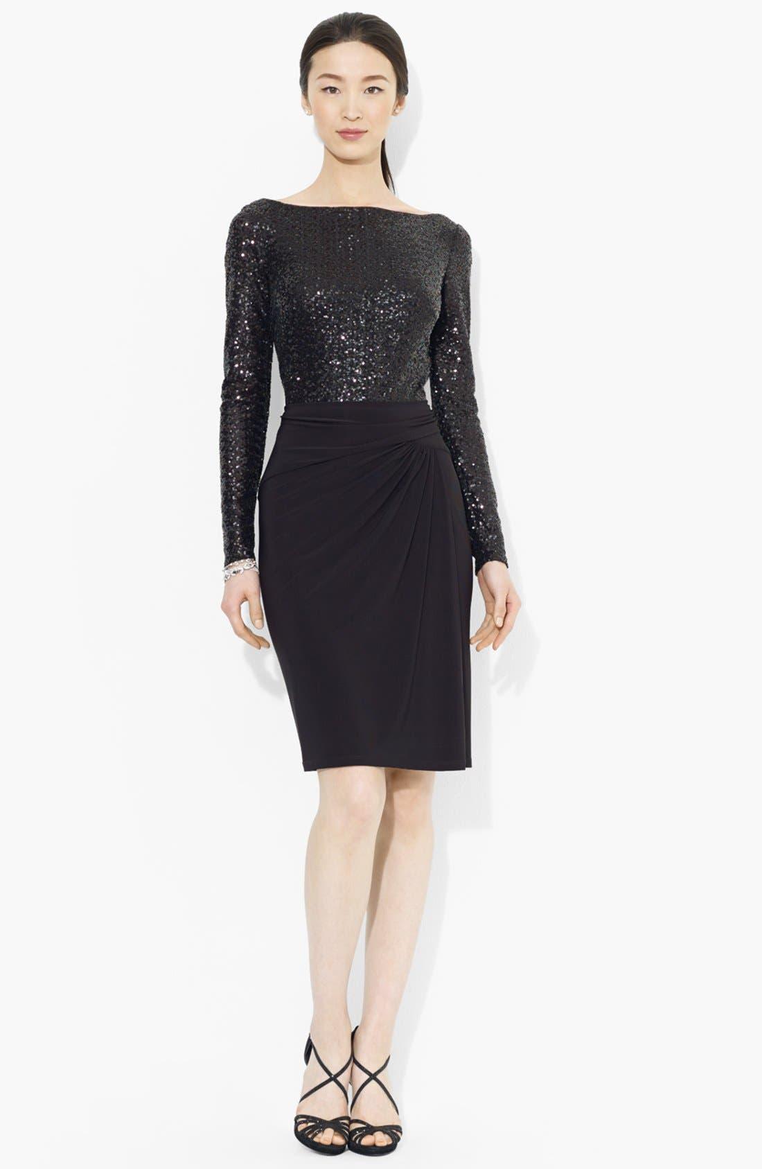 Main Image - Lauren Ralph Lauren Sequin Bodice Jersey Dress