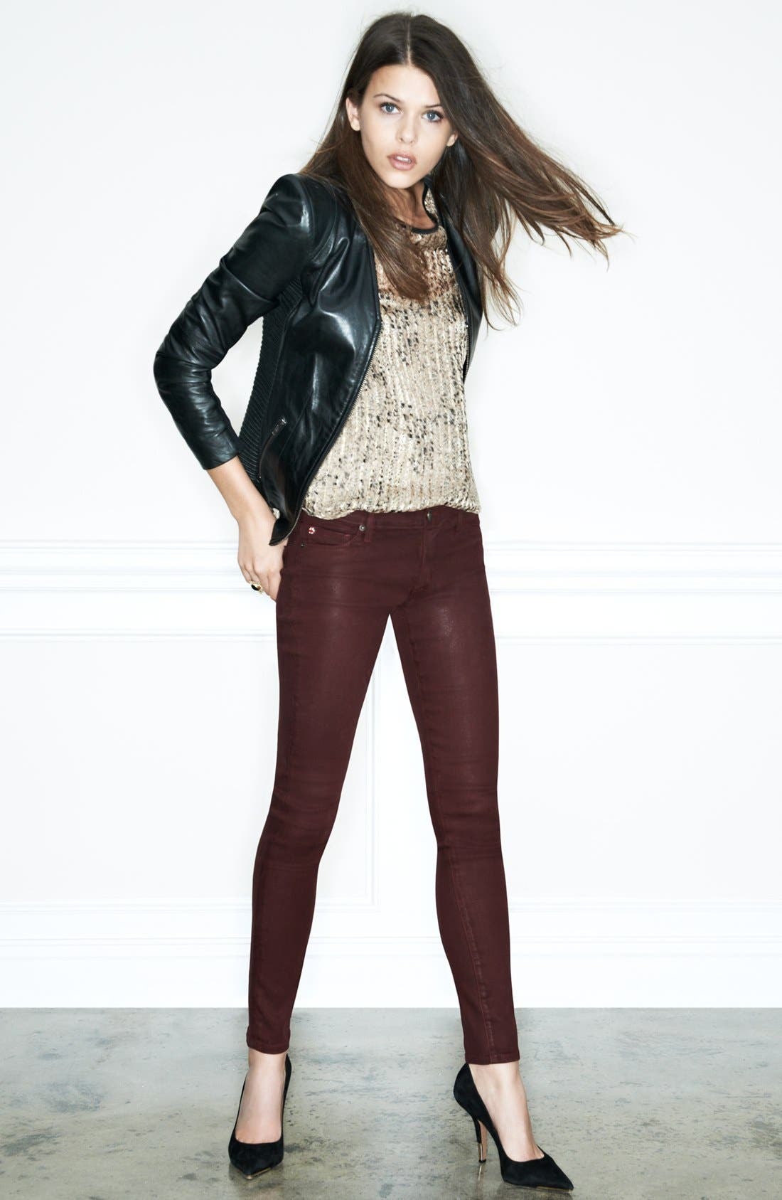 Alternate Image 5  - Hudson Jeans 'Krista' Super Skinny Jeans (Crimson Wax)