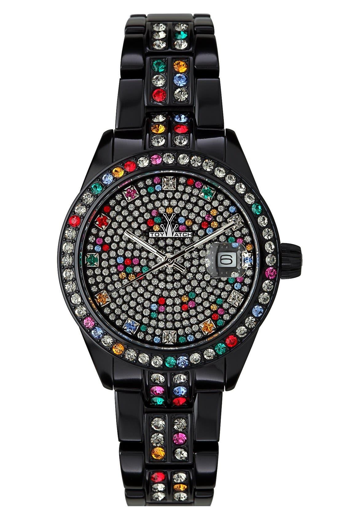 Main Image - TOYWATCH 'Metallic Stones' Pavé Dial Bracelet Watch, 35mm