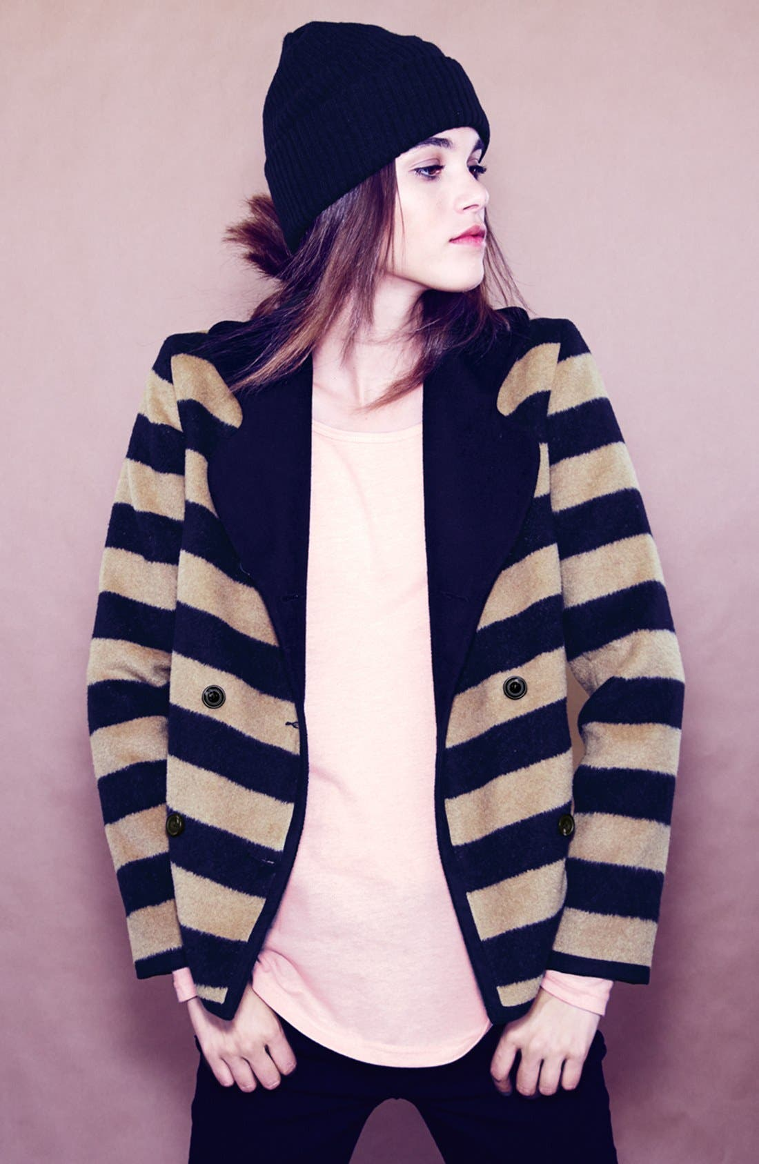 Alternate Image 4  - Tulle Stripe Double Breasted Coat (Juniors)