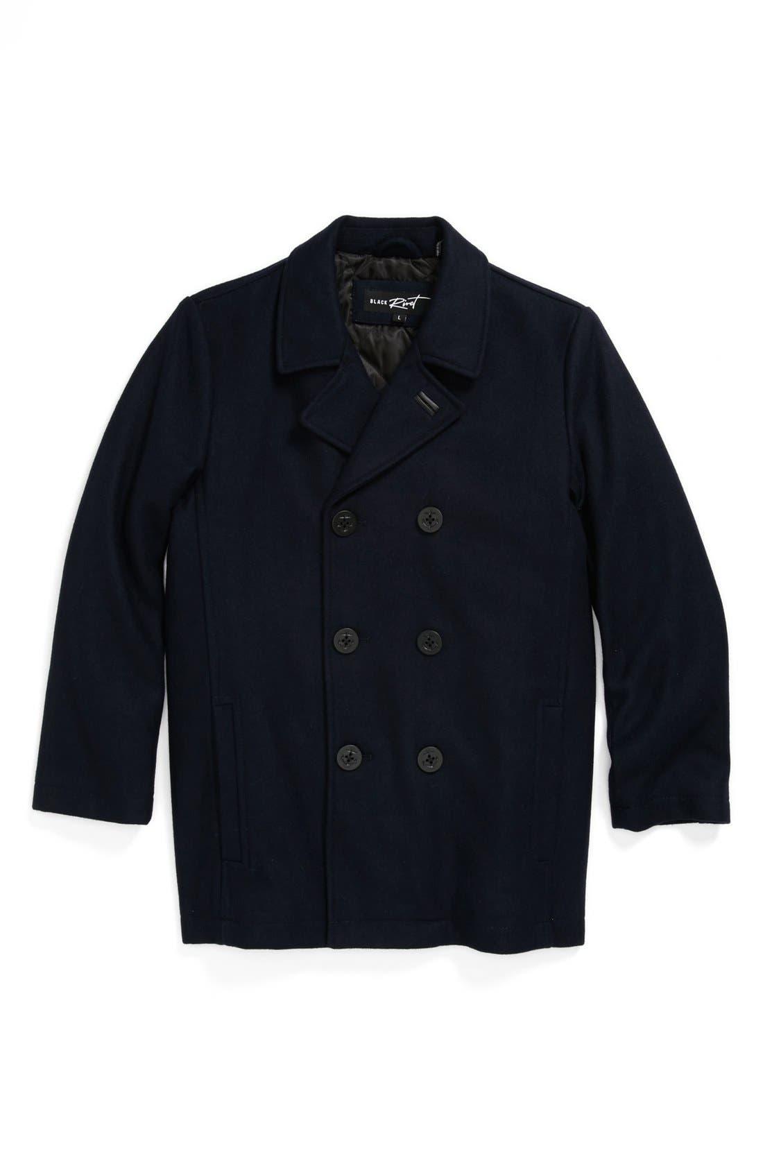 Main Image - Black Rivet Wool Peacoat (Big Boys)