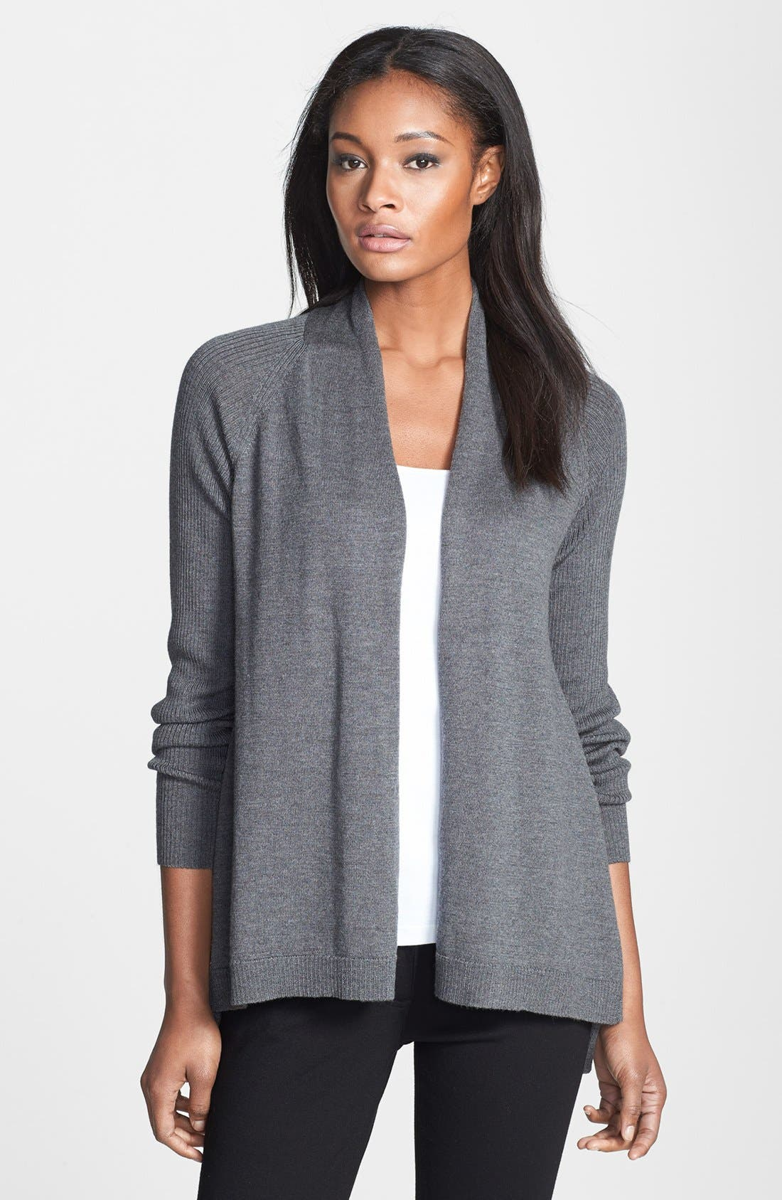 Alternate Image 1 Selected - Eileen Fisher Raglan Sleeve Merino Wool Cardigan (Regular & Petite)