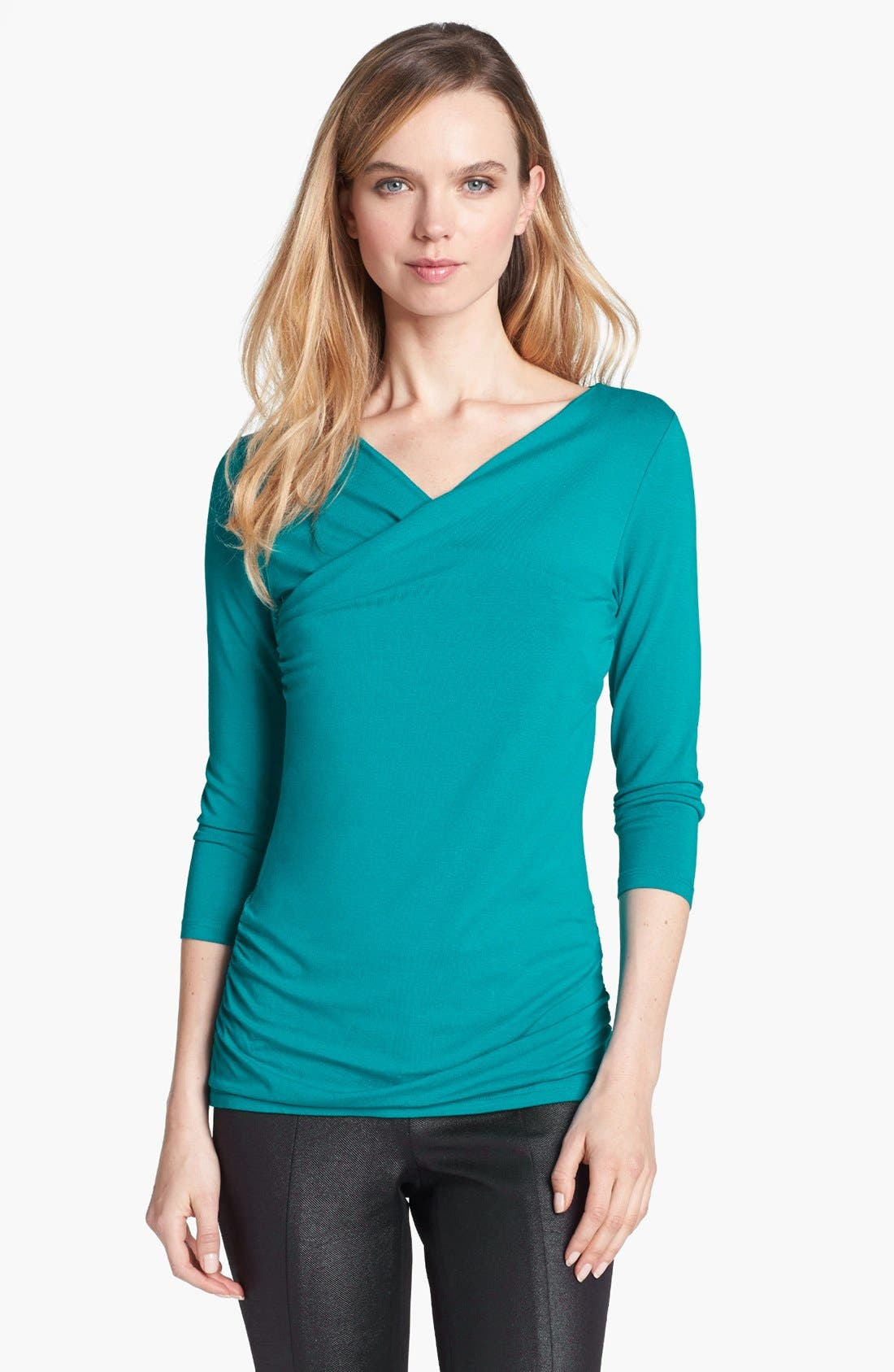 Main Image - Vince Camuto High Wrap Side Ruched Top (Online Only)