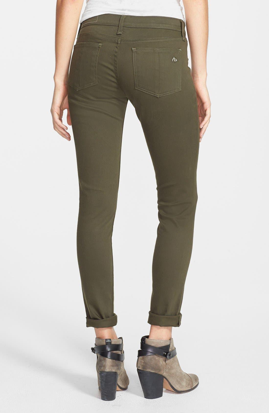 Alternate Image 2  - rag & bone/JEAN 'The Legging' Sateen Skinny Jeans (Army Sateen)