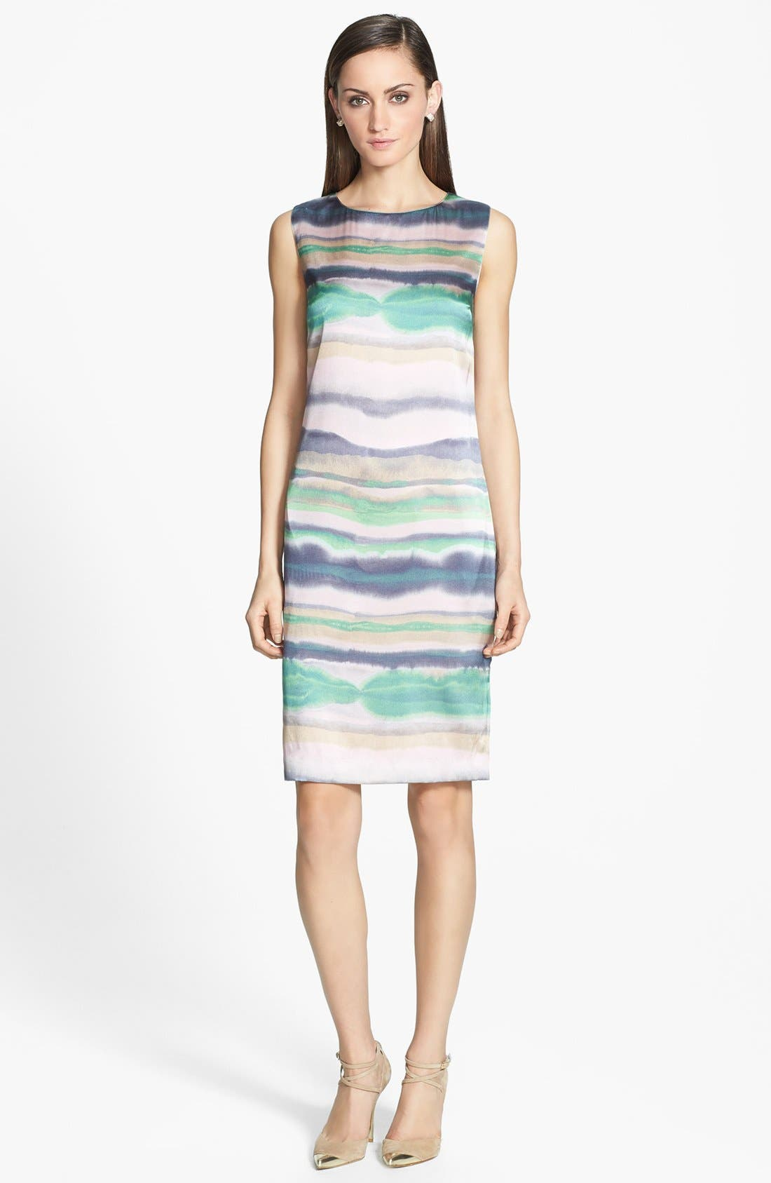 Main Image - St. John Collection 'Oasis Stripe' Stretch Silk Charmeuse Shift Dress