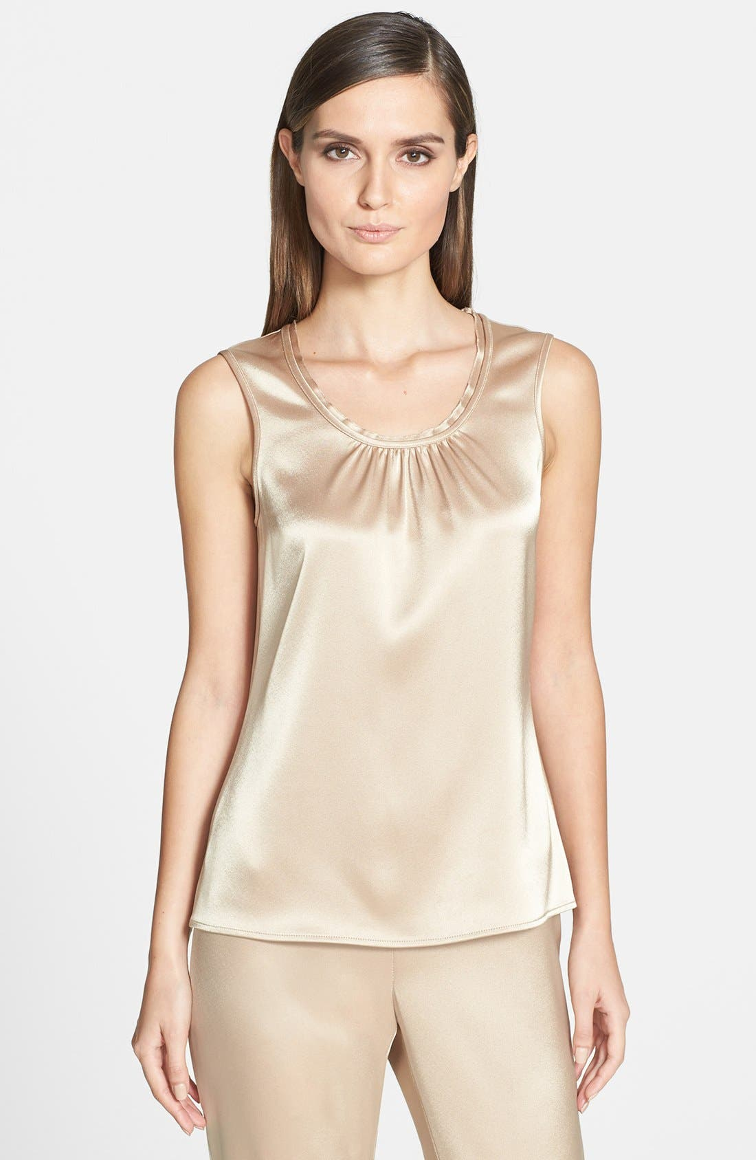 Main Image - St. John Collection Gathered Neck Liquid Satin Shell