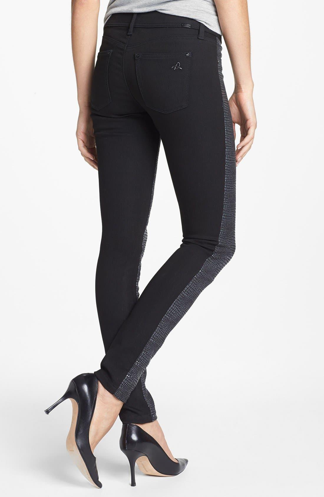 Alternate Image 2  - DL1961 'Emma' Metallic Front Skinny Jeans (Python)