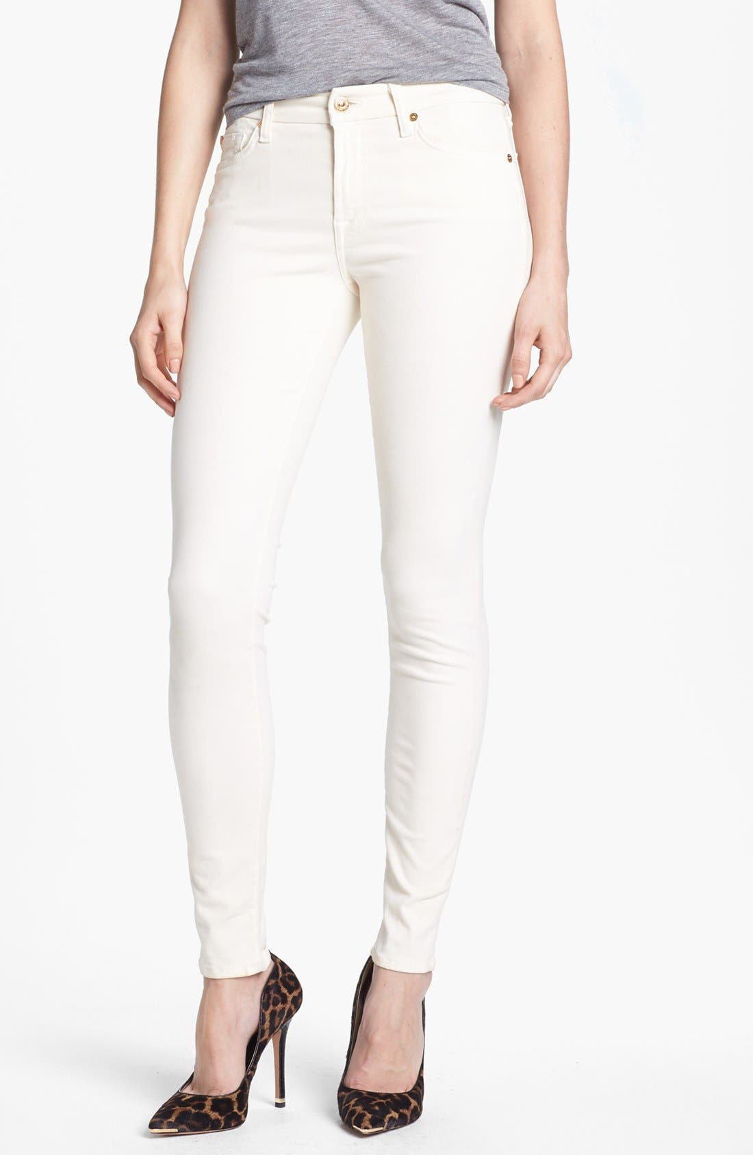 Alternate Image 1 Selected - 7 For All Mankind® Sateen Skinny Jeans (Winter White)