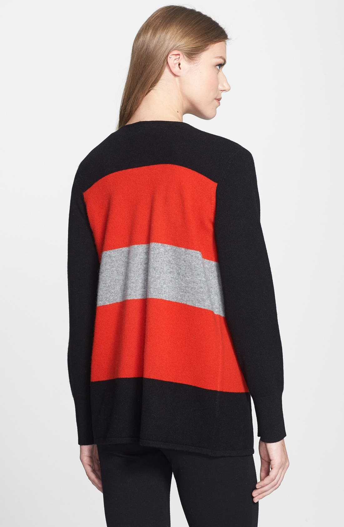 Alternate Image 2  - Nordstrom Collection Colorblock Cashmere Cascade Cardigan