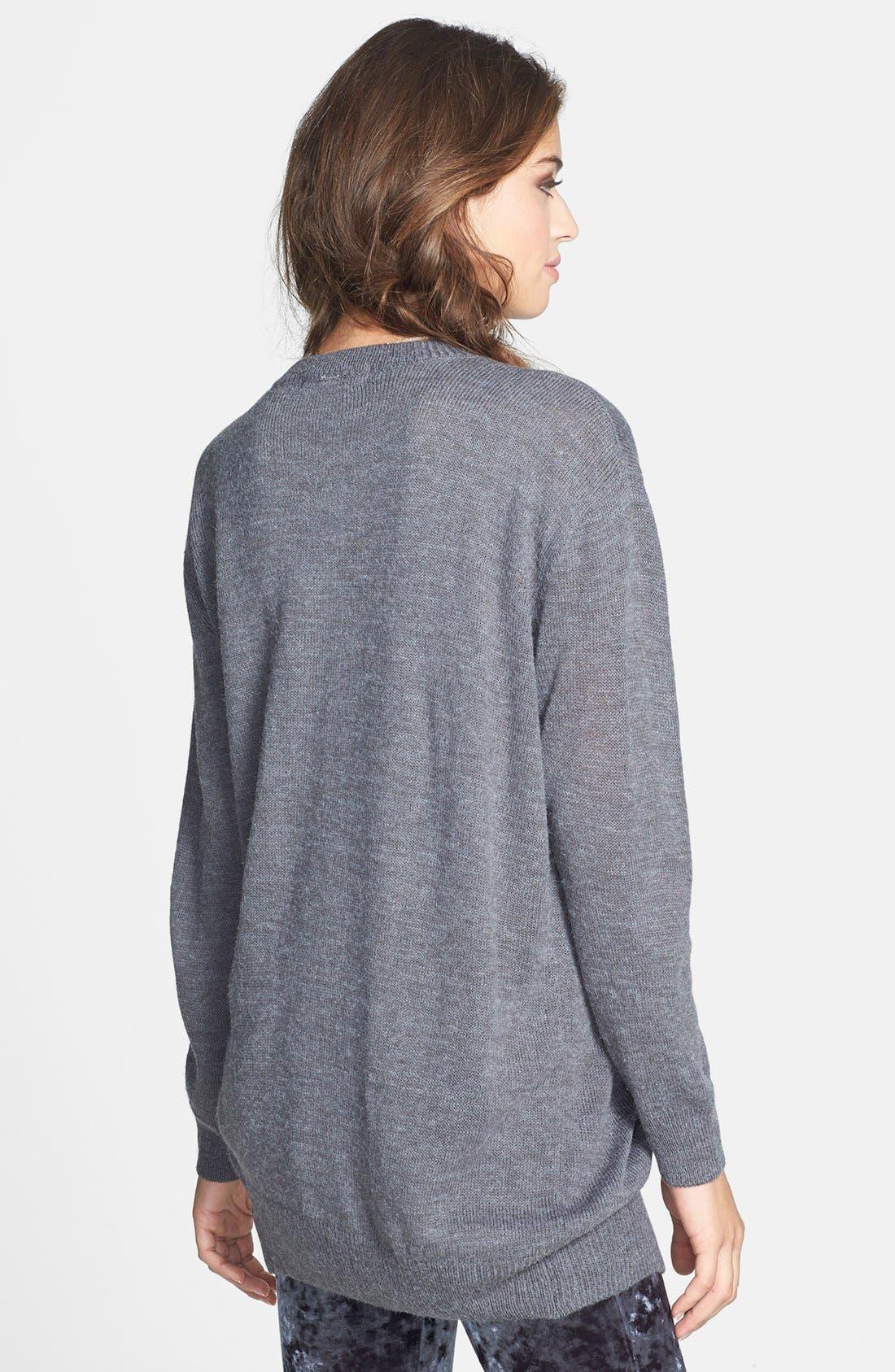 Alternate Image 2  - Cotton Emporium Open Front Long Cardigan (Juniors)
