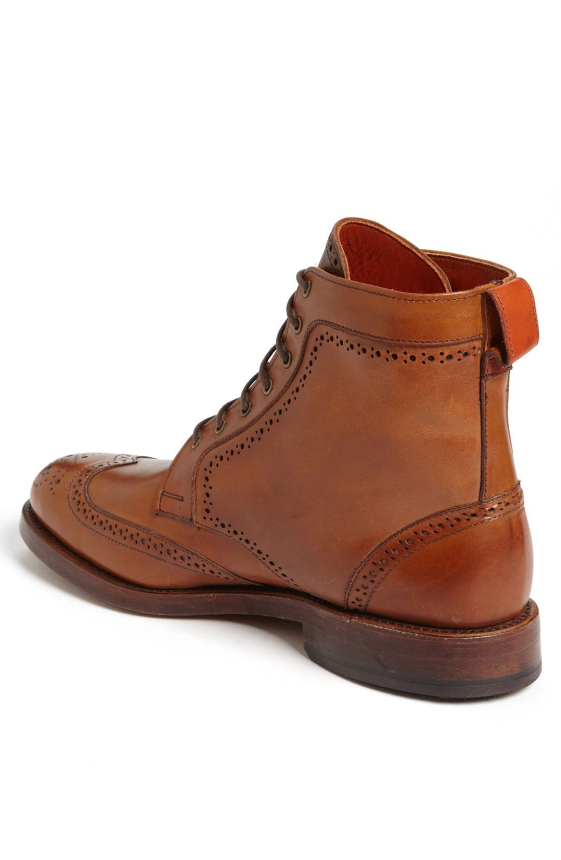 'Dalton' Water Resistant Wingtip Boot,                             Alternate thumbnail 2, color,                             Burnished Walnut Leather