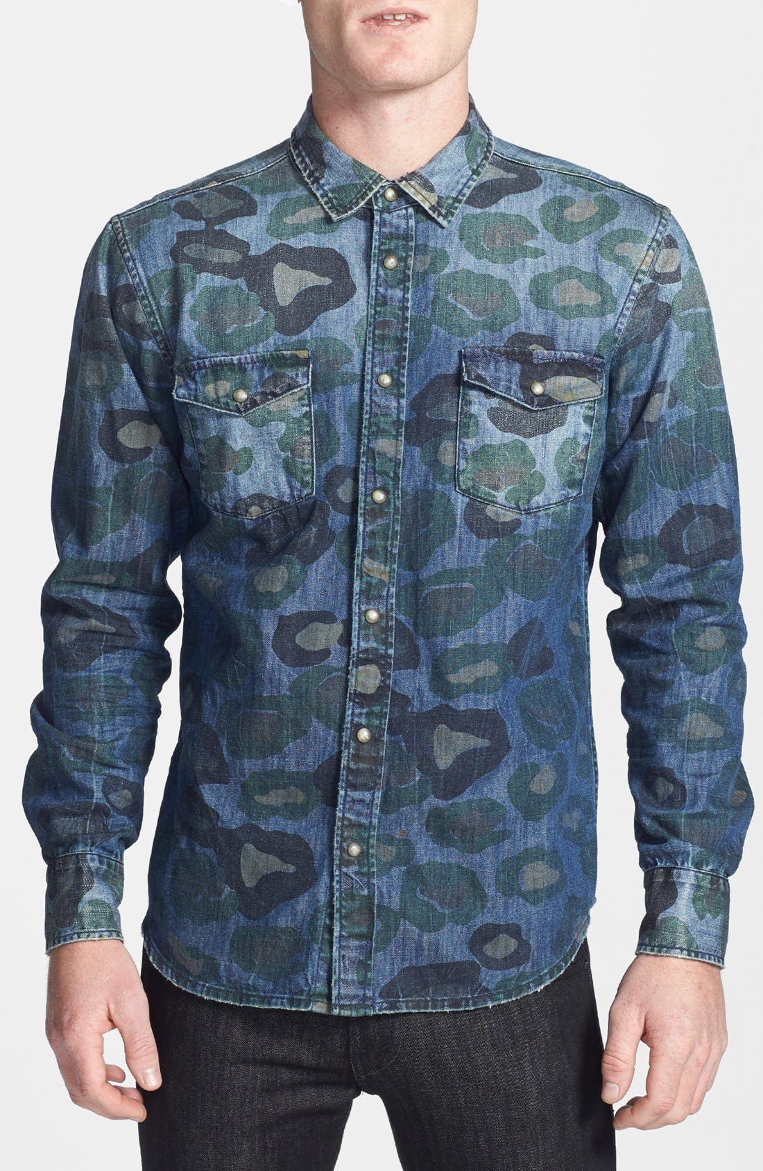 Alternate Image 1 Selected - ZANEROBE 'Cats with Guns' Camo Print Denim Shirt