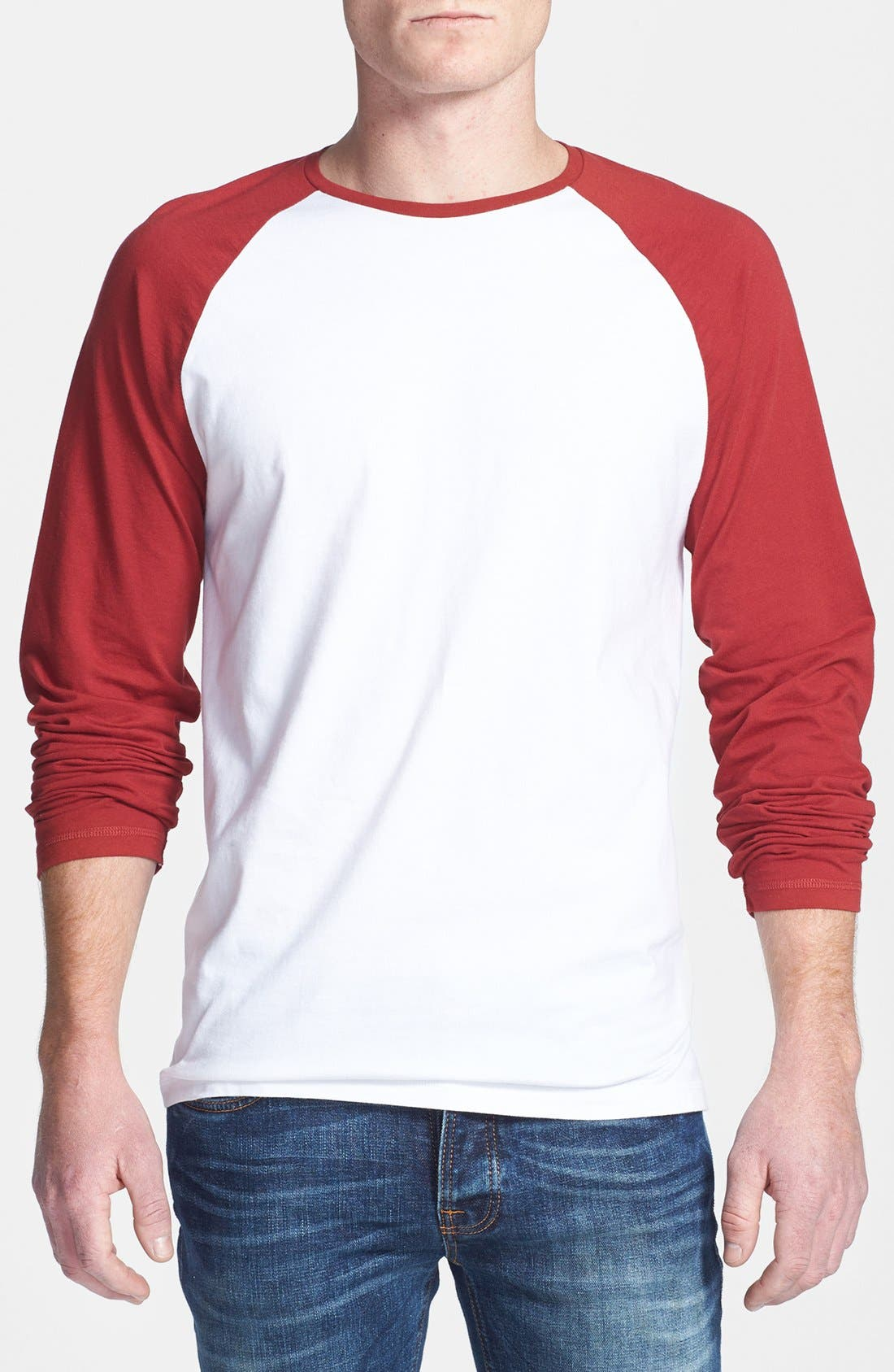 Alternate Image 1 Selected - Topman Contrast Raglan Long-Sleeve T-Shirt