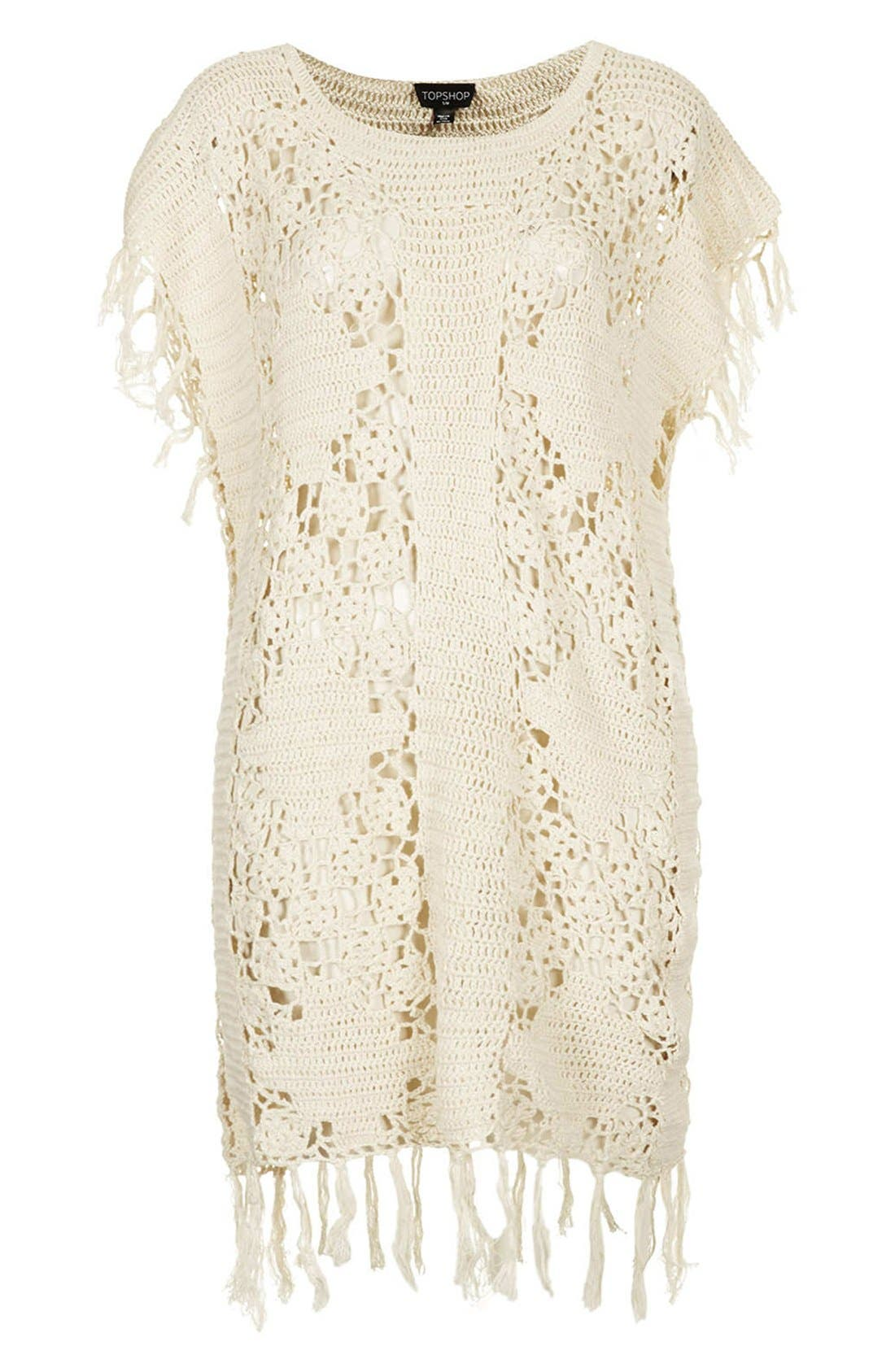 Alternate Image 3  - Topshop Fringed Crocheted Cover-Up