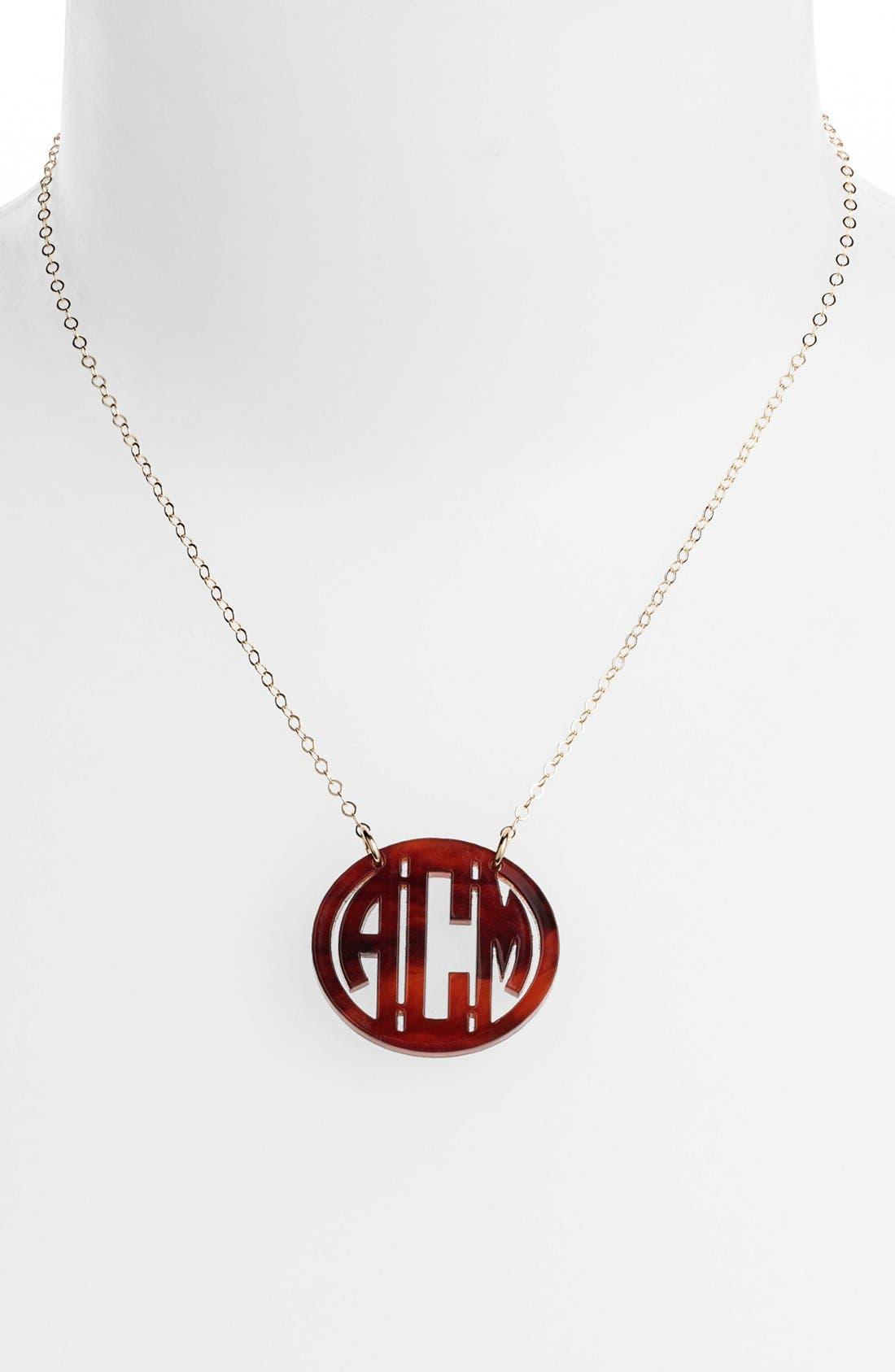 MOON AND LOLA Small Personalized Monogram Pendant Necklace (Nordstrom Exclusive) in Blonde Tortoise/ Gold