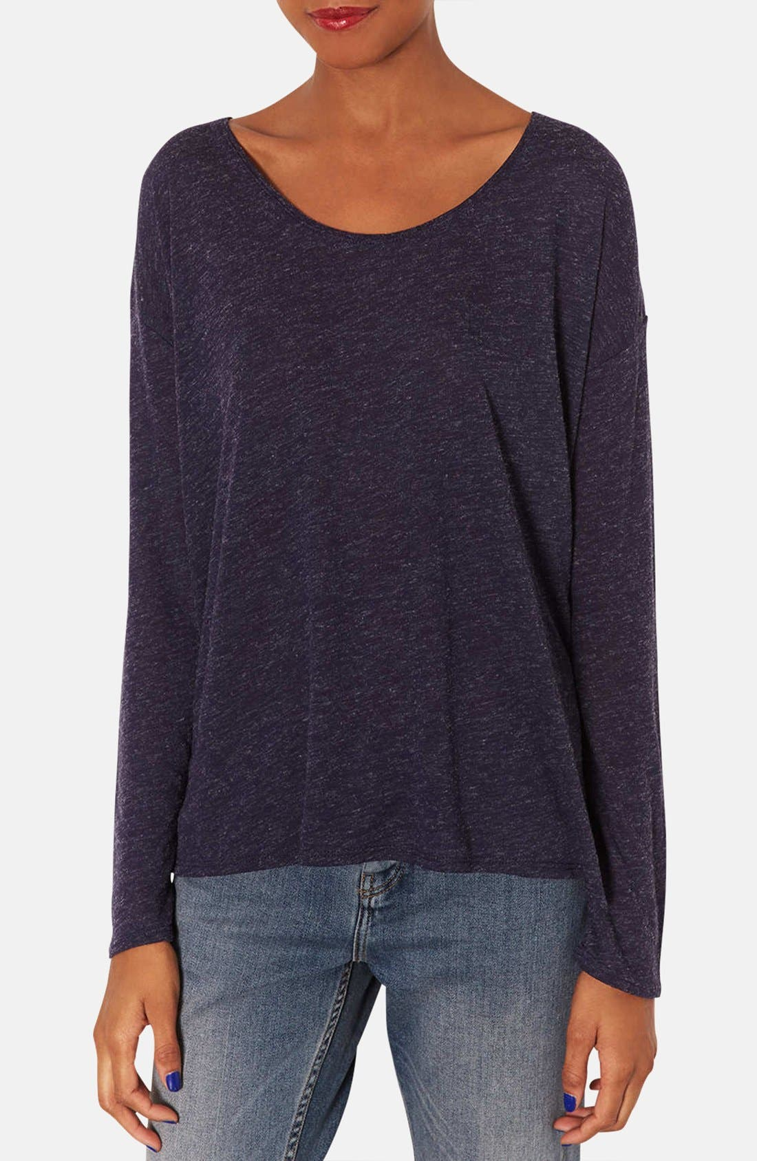 Main Image - Topshop Textured Long Sleeve Slub Top