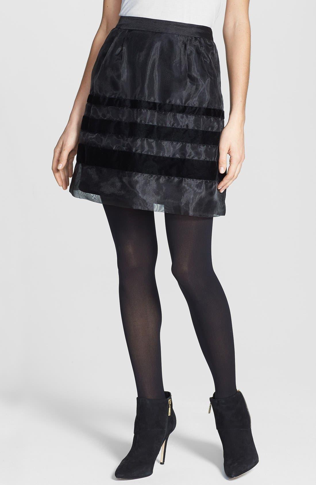 Alternate Image 1 Selected - Halogen® Velvet Stripe Organza Skirt (Regular & Petite Focus)