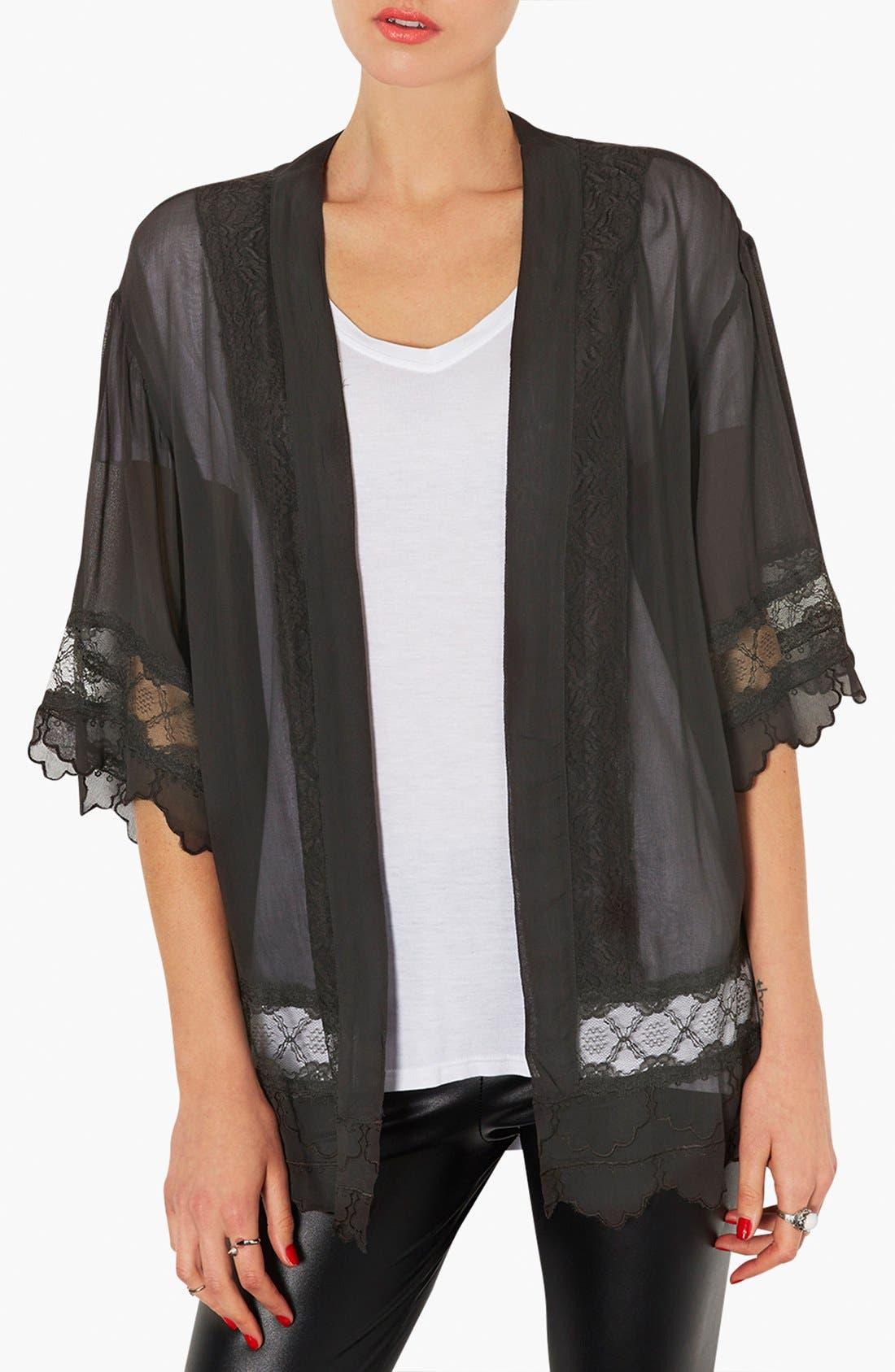 Main Image - Topshop Lace Inset Kimono Jacket