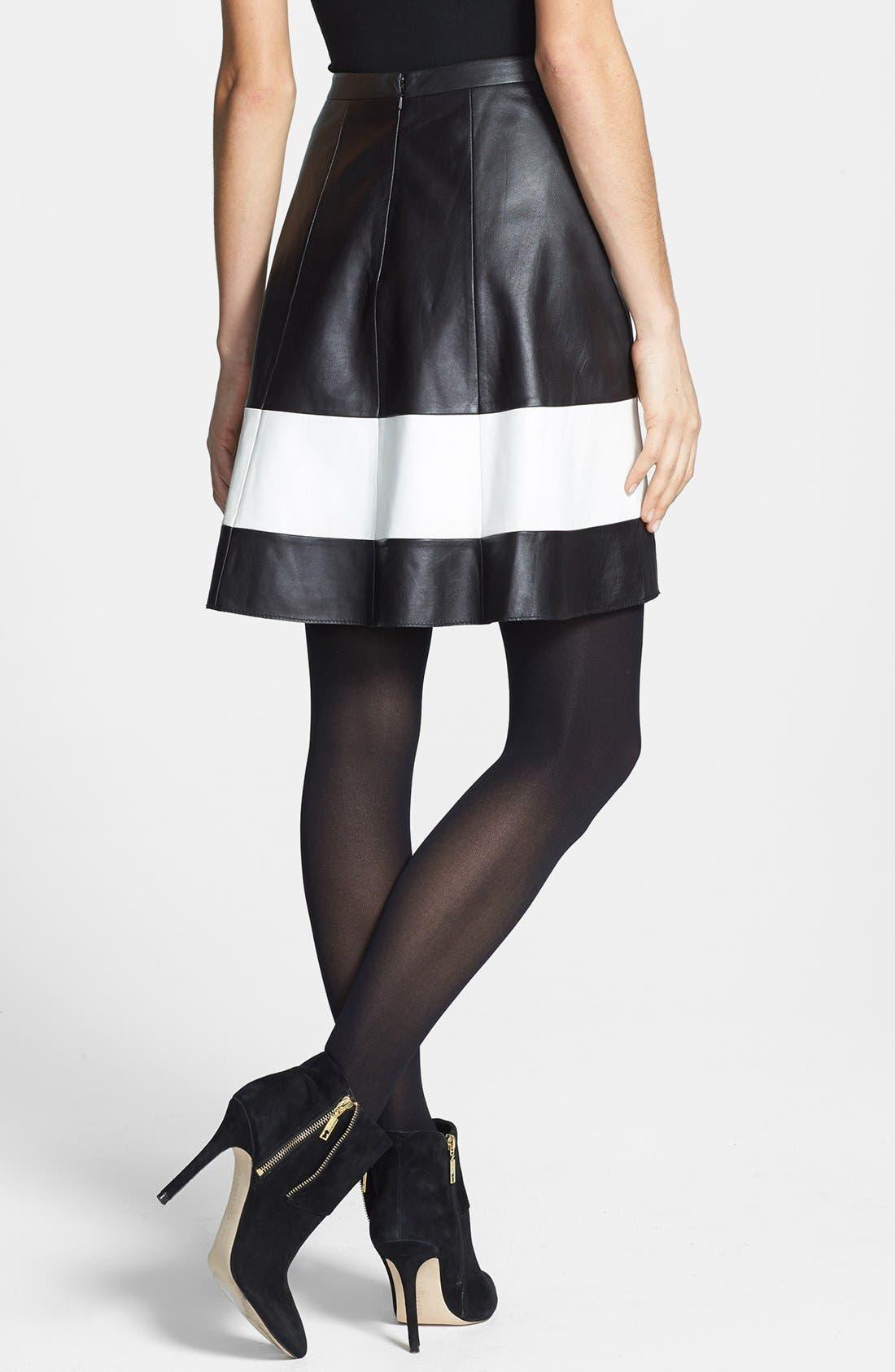 Alternate Image 2  - Halogen® Contrast Border Flared Leather Skirt