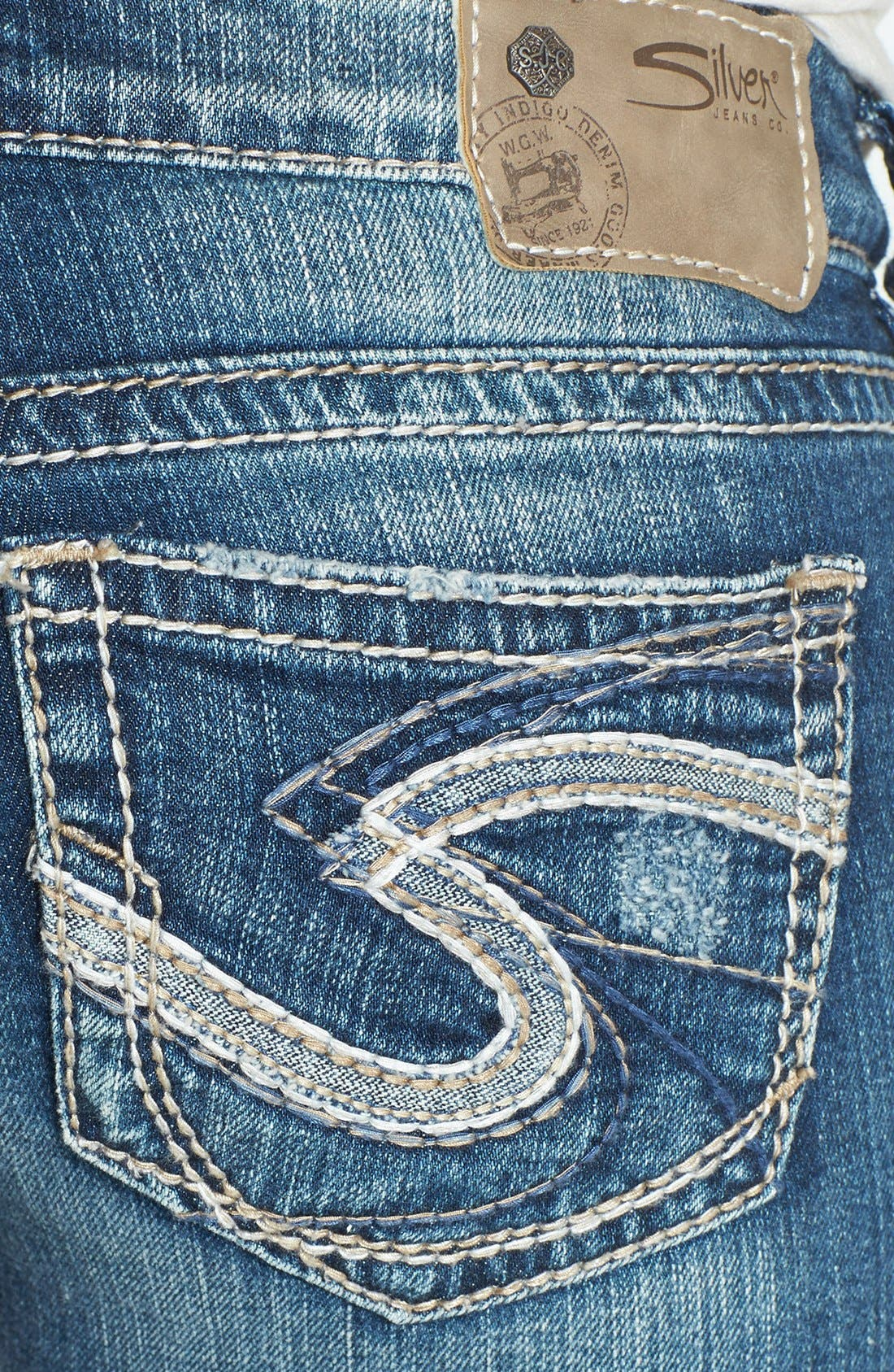 Alternate Image 3  - Silver Jeans Co. 'Tuesday' Distressed Bootcut Jeans (Indigo)