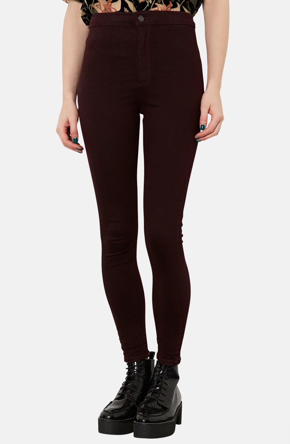 Alternate Image 1 Selected - Topshop Moto 'Joni' High Rise Skinny Jeans (Burgundy)