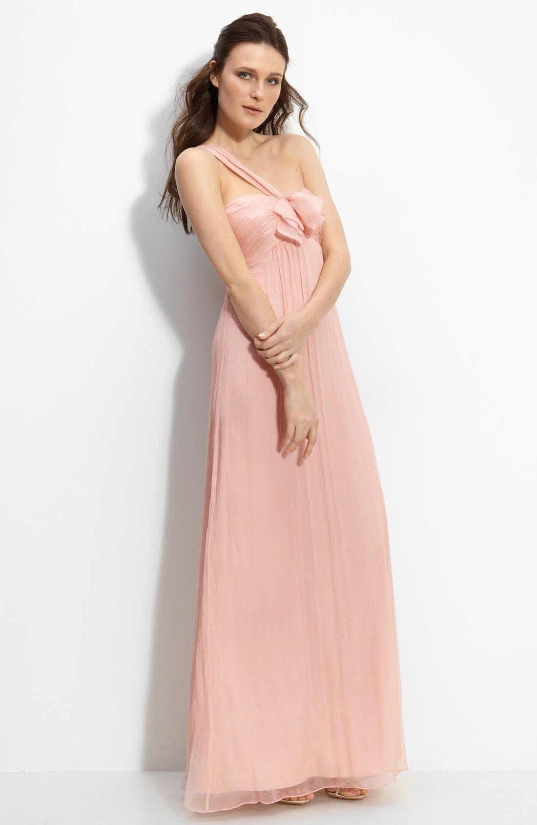 Alternate Image 1 Selected - Amsale Bow Front One Shoulder Chiffon Gown