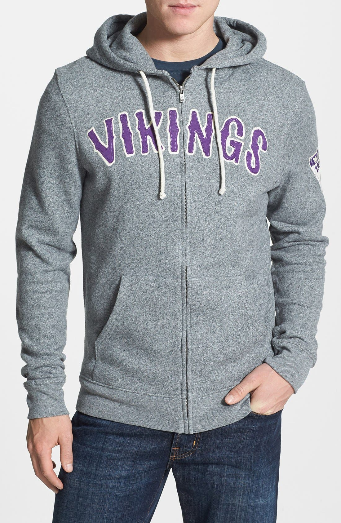Alternate Image 1 Selected - Junk Food 'Minnesota Vikings - Sunday' Zip Hoodie