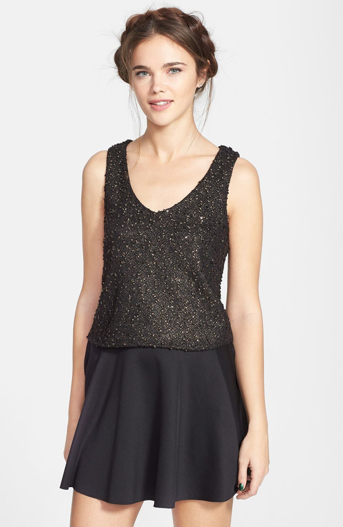 Alternate Image 1 Selected - Lily White Heart Cutout Metallic Tank (Juniors) (Online Only)