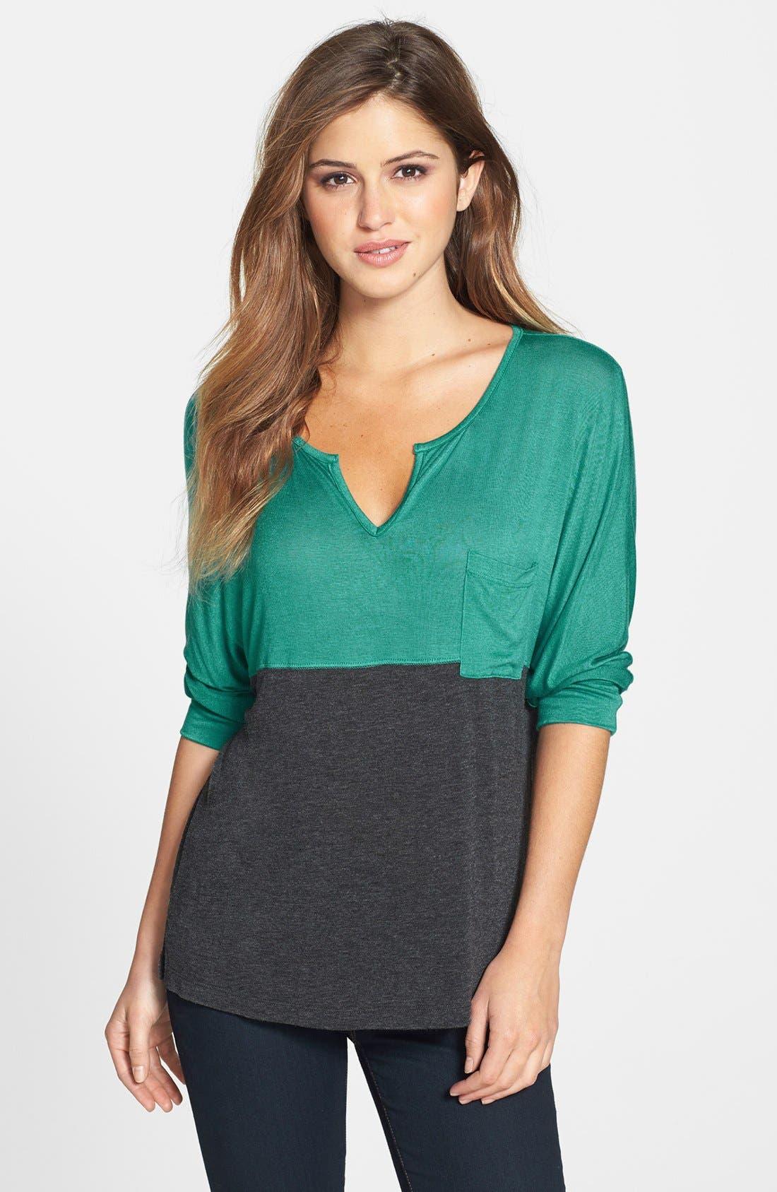 Alternate Image 1 Selected - Pleione Colorblock Dolman Sleeve Jersey Top