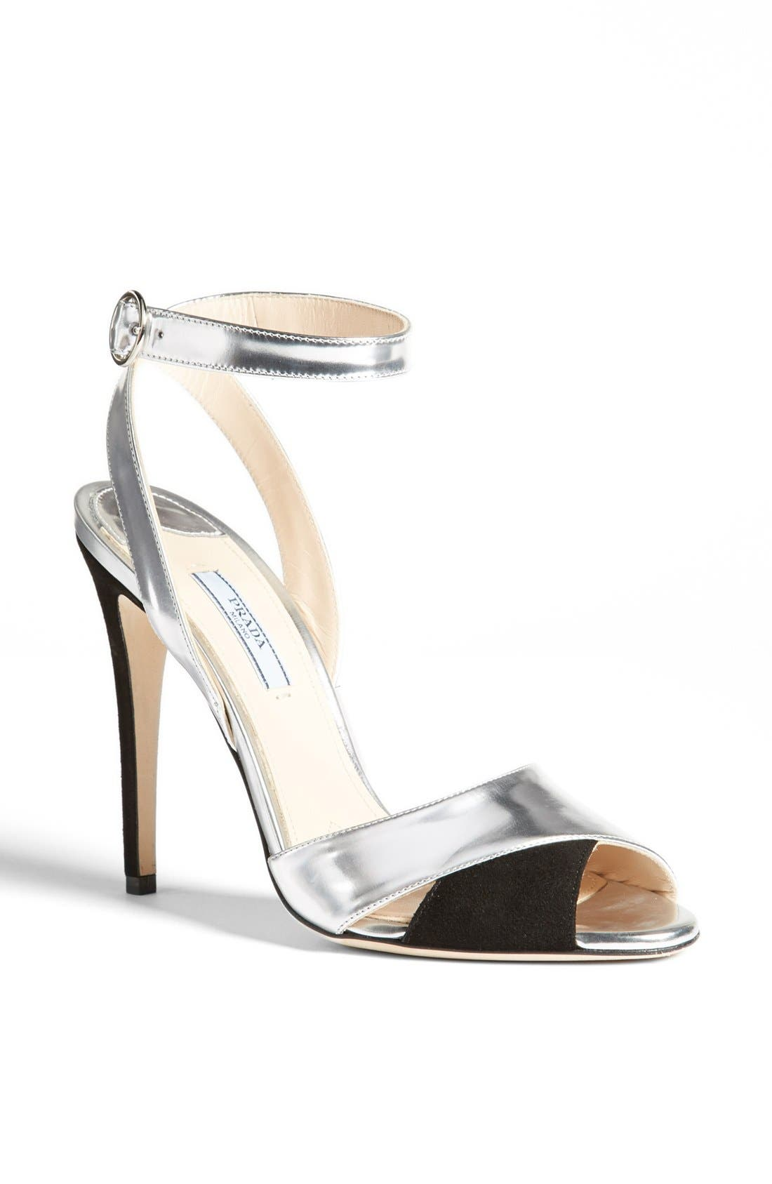 Alternate Image 1 Selected - Prada Bicolor Metallic Ankle Strap Sandal
