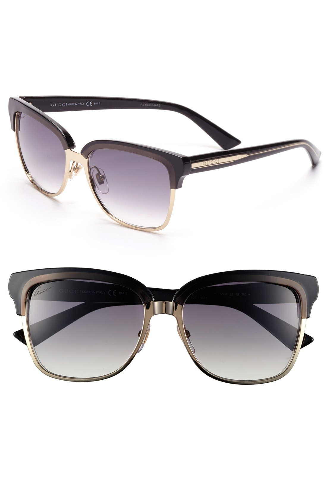 Main Image - Gucci 55mm Retro Sunglasses (Online Only)
