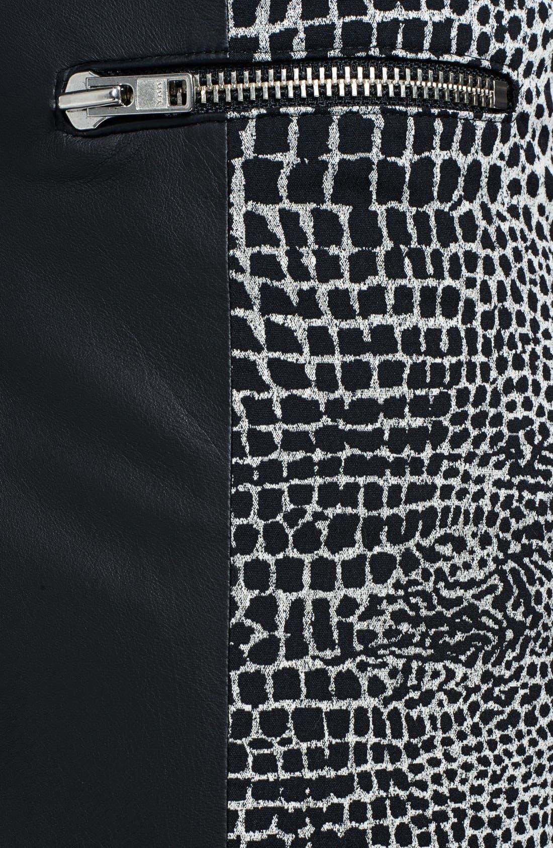 Alternate Image 3  - The Kooples Leather & Crocodile Jacquard Skirt
