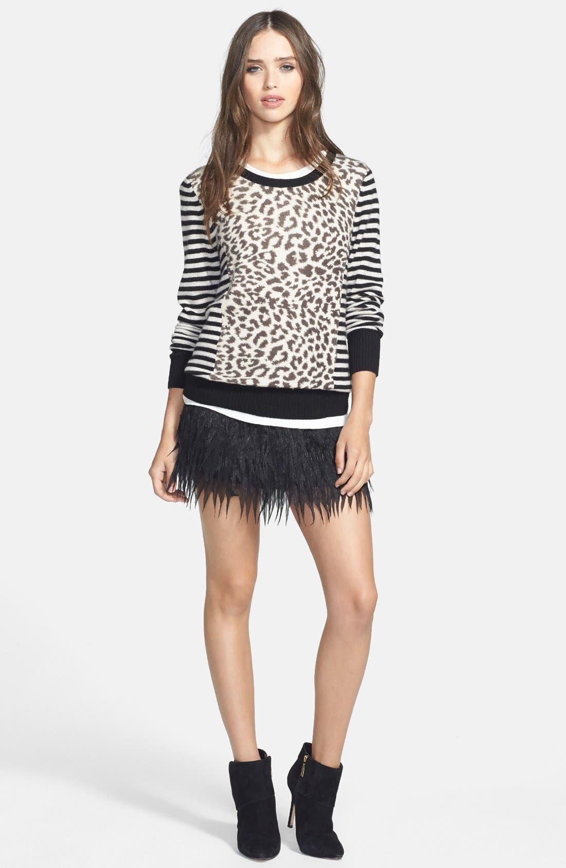 Main Image - Press Faux Feather Miniskirt