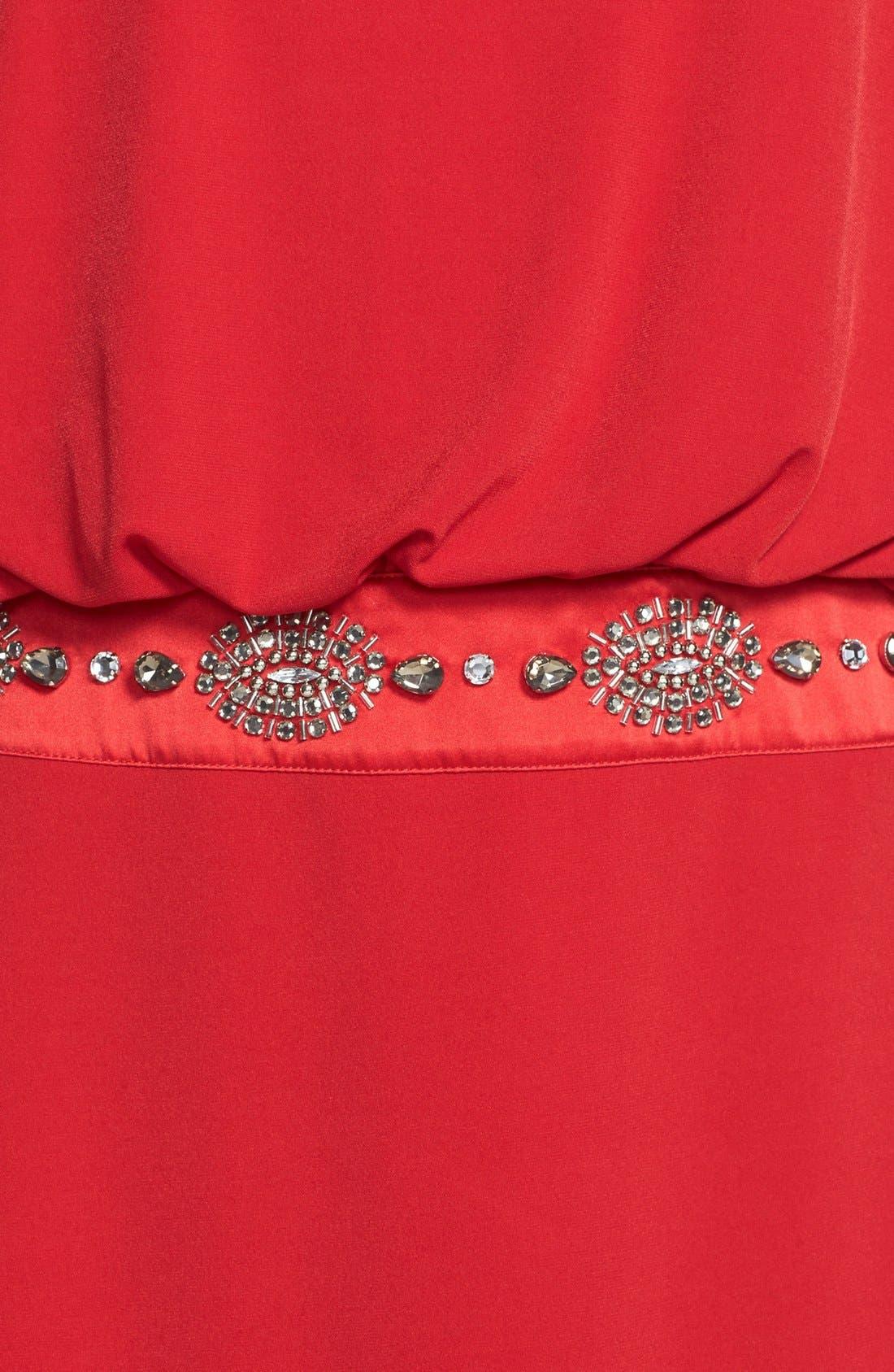 Alternate Image 4  - Laundry by Shelli Segal Jersey Blouson Dress with Back Keyhole