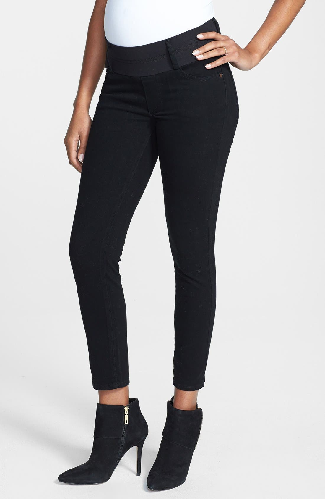 Maternity Skinny Ankle Stretch Jeans,                         Main,                         color, Black