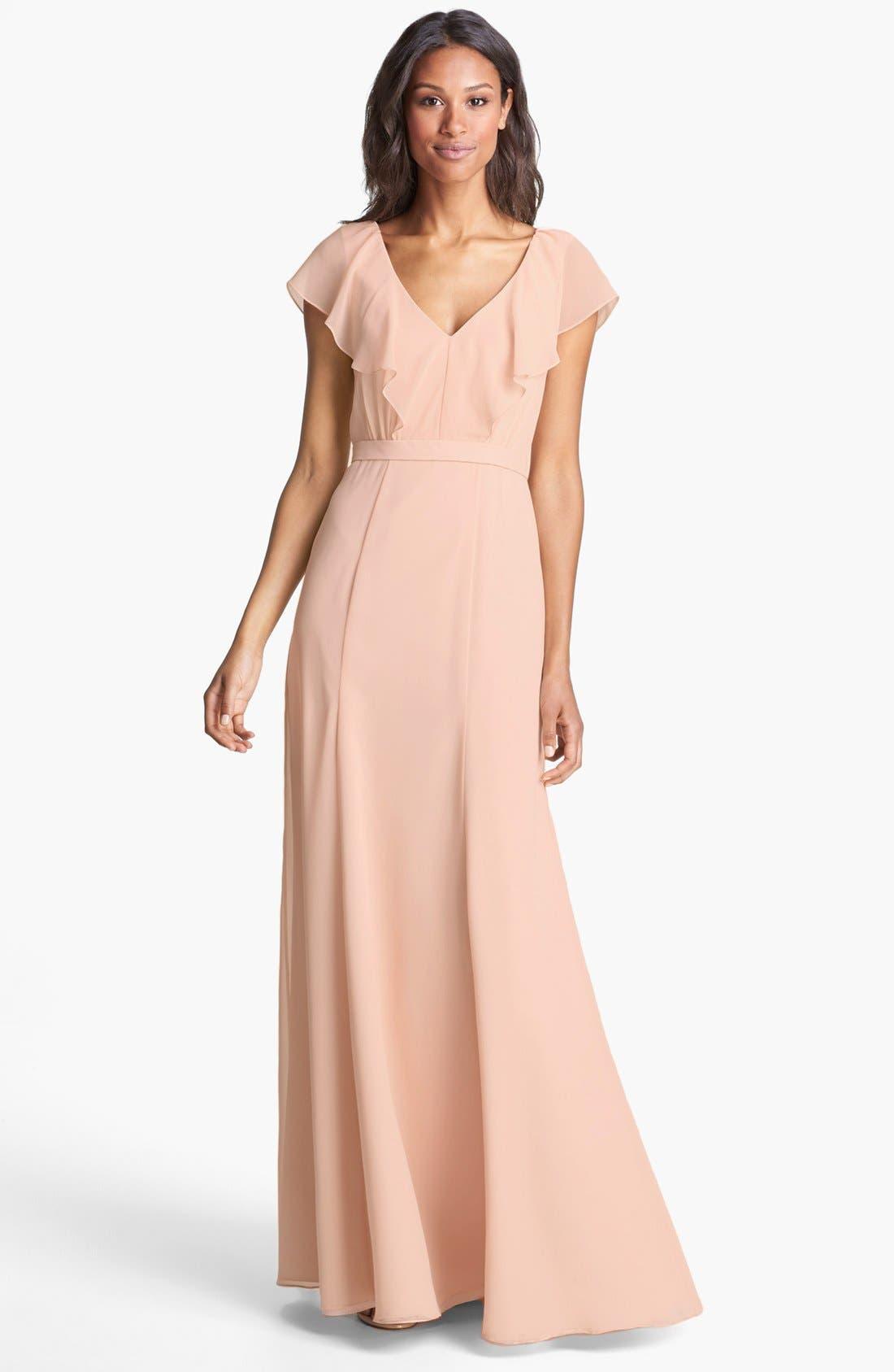 Alternate Image 1 Selected - Jenny Yoo 'Cecilia' Ruffled V-Neck Chiffon Long Dress (Online Only)