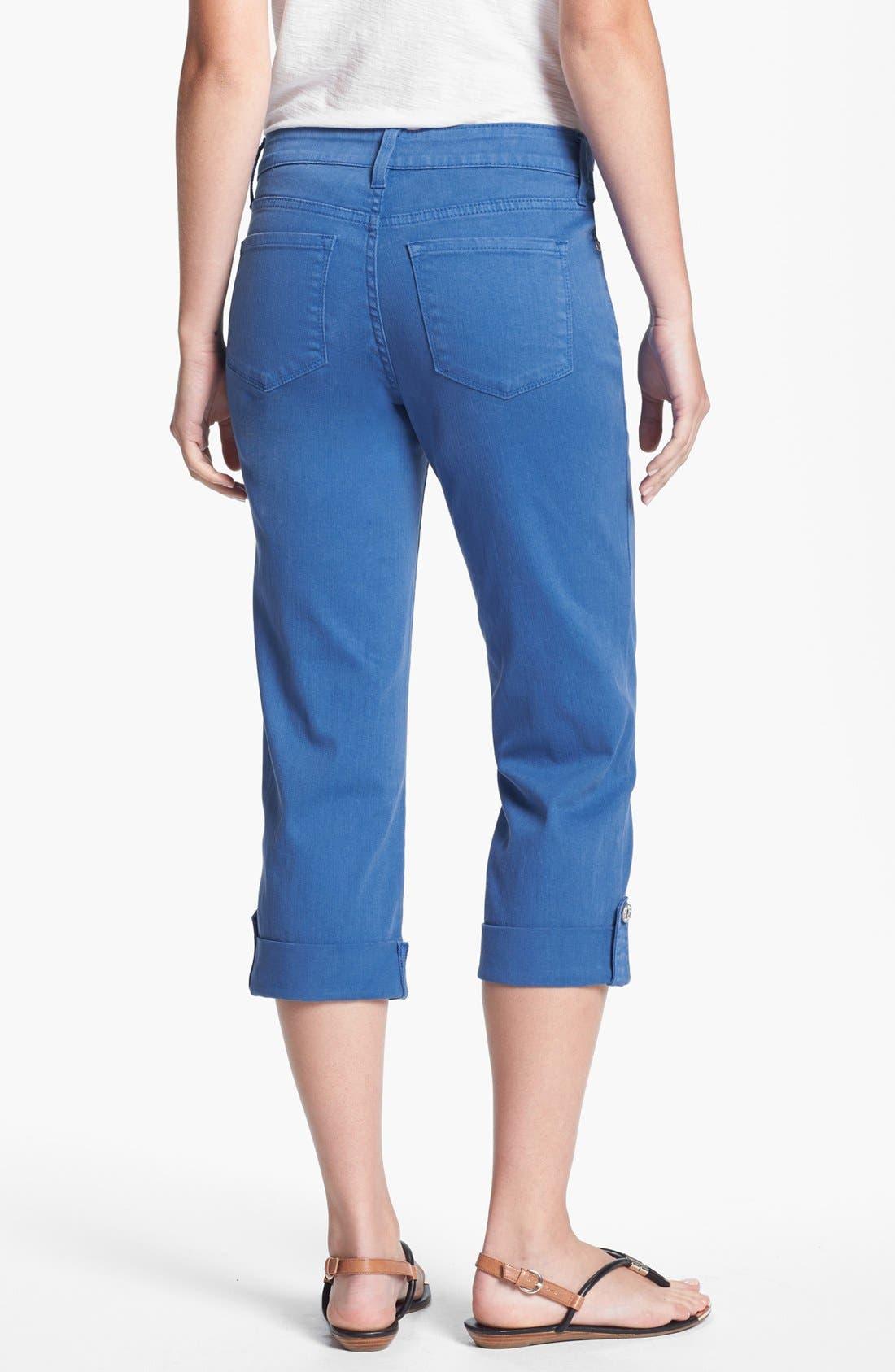 Alternate Image 2  - NYDJ 'Lyris' Colored Roll-Tab Stretch Crop Jeans