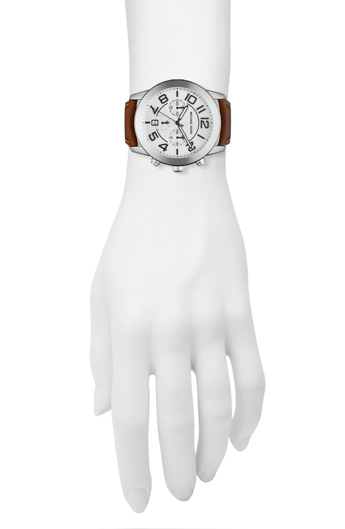 Alternate Image 2  - Michael Kors 'Mercer' Large Chronograph Leather Strap Watch, 45mm