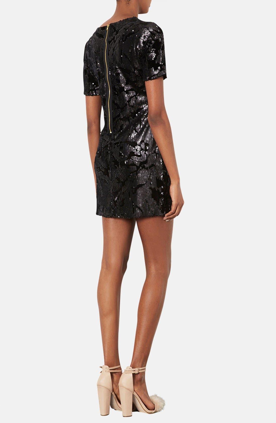 Alternate Image 2  - Topshop Sequin Velvet Shift Dress