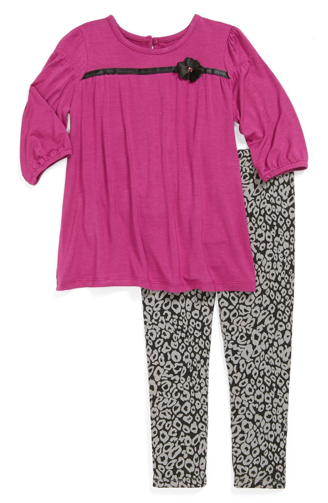 Alternate Image 1 Selected - Nicole Miller Tunic & Print Leggings (Toddler Girls)