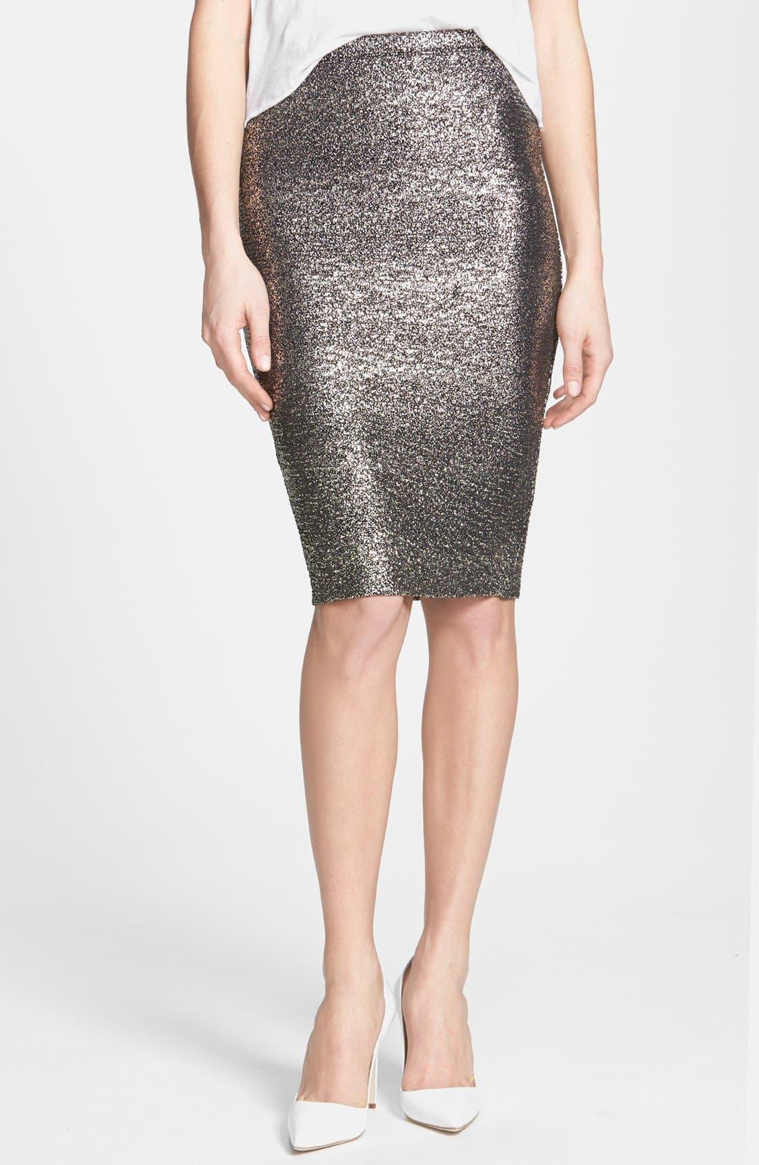 Metallic Pencil Skirt,                         Main,                         color, Black