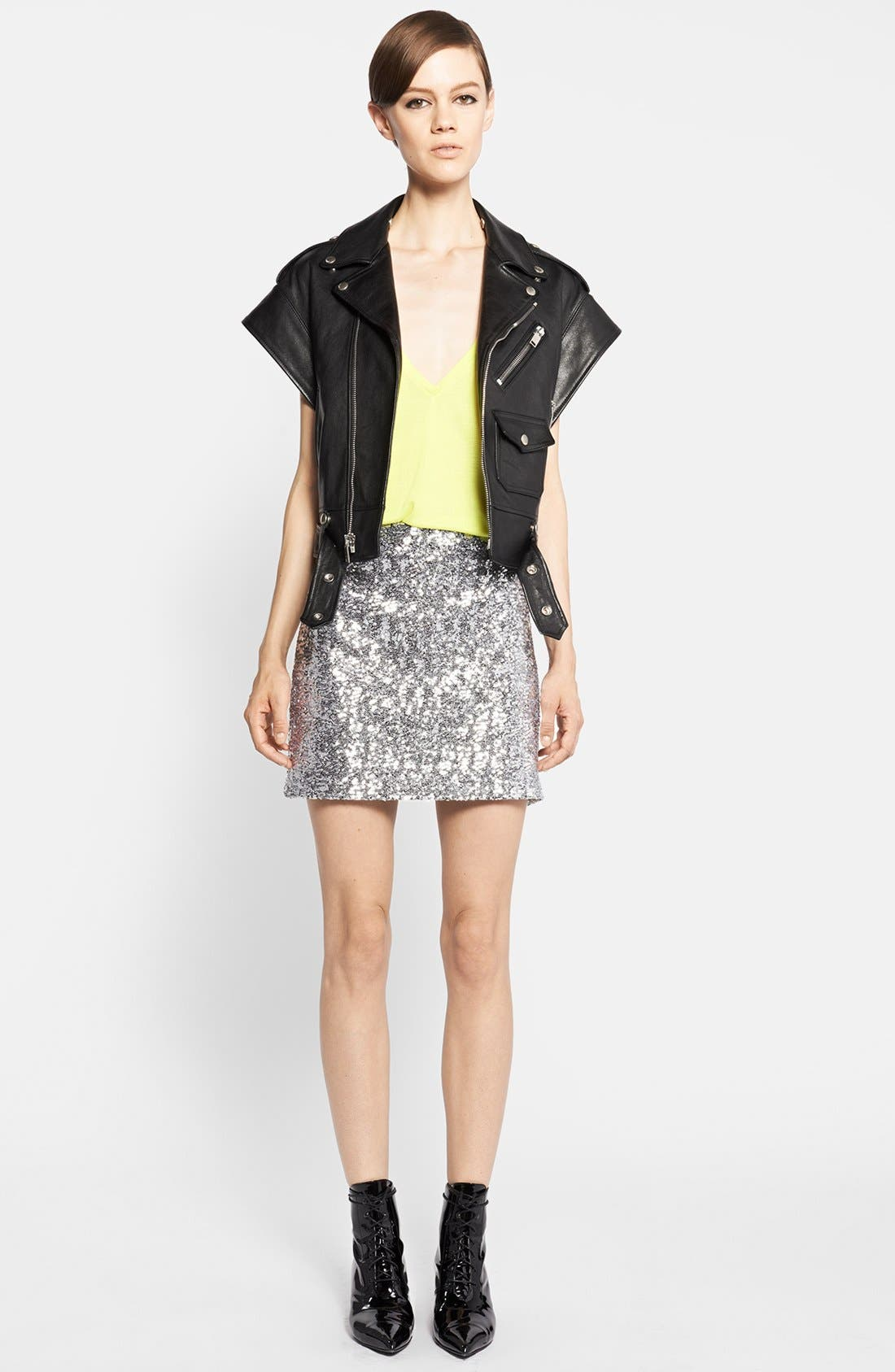 Alternate Image 1 Selected - Saint Laurent Faux Leather Vest, Tank & Miniskirt