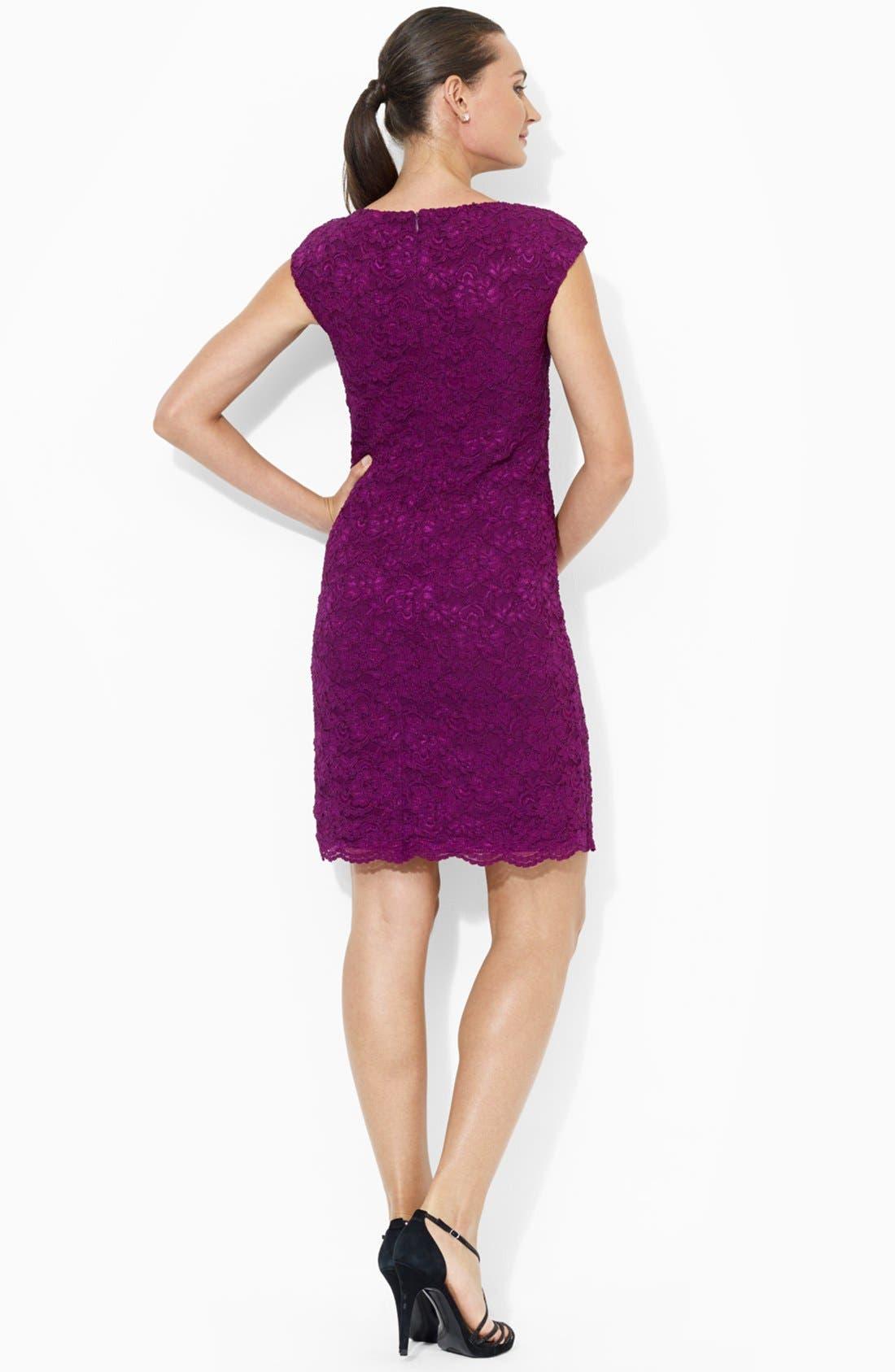 Alternate Image 2  - Lauren Ralph Lauren Lace Sheath Dress (Petite)