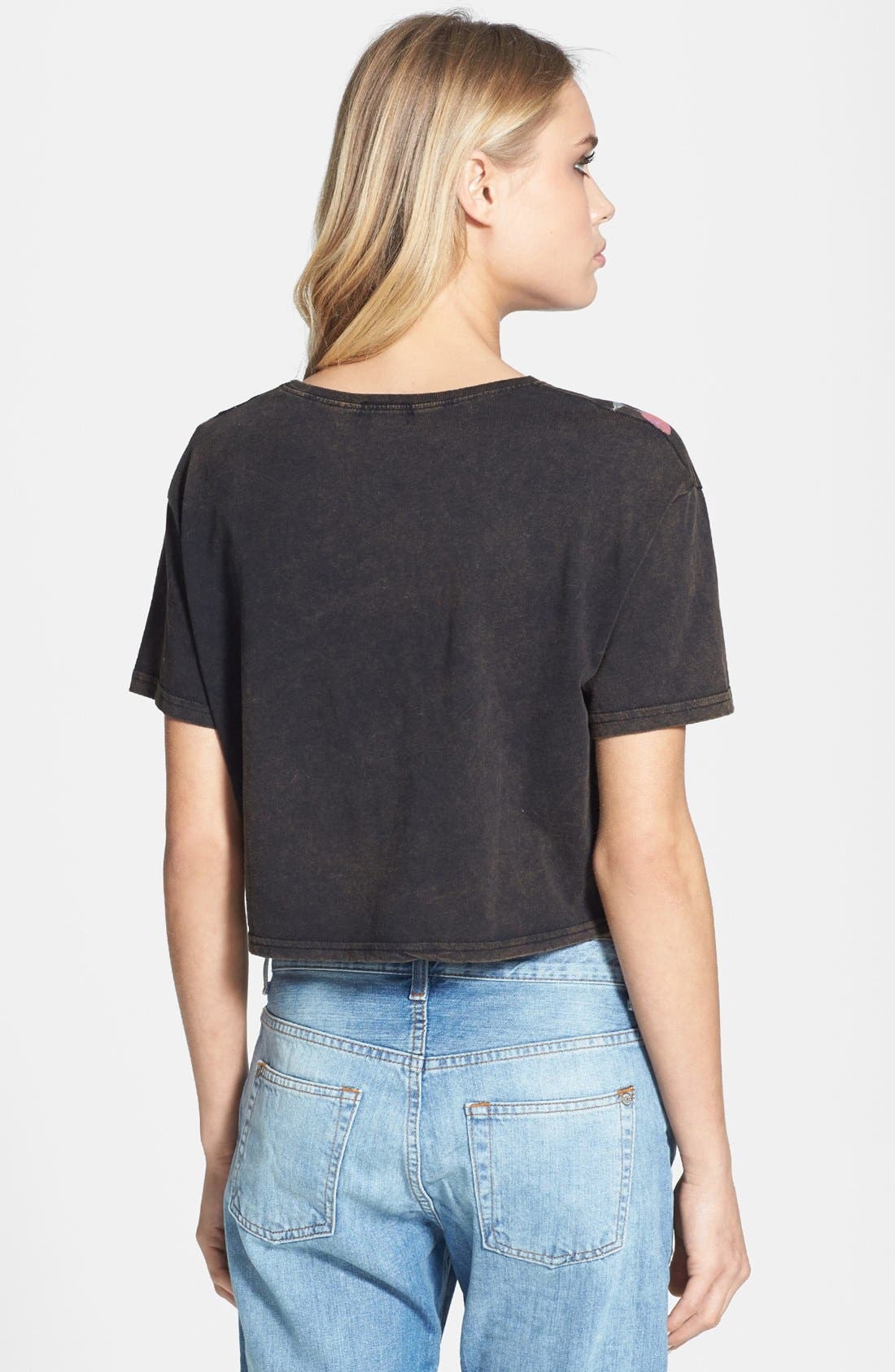 Alternate Image 2  - Topshop Dark Floral Crop Tee