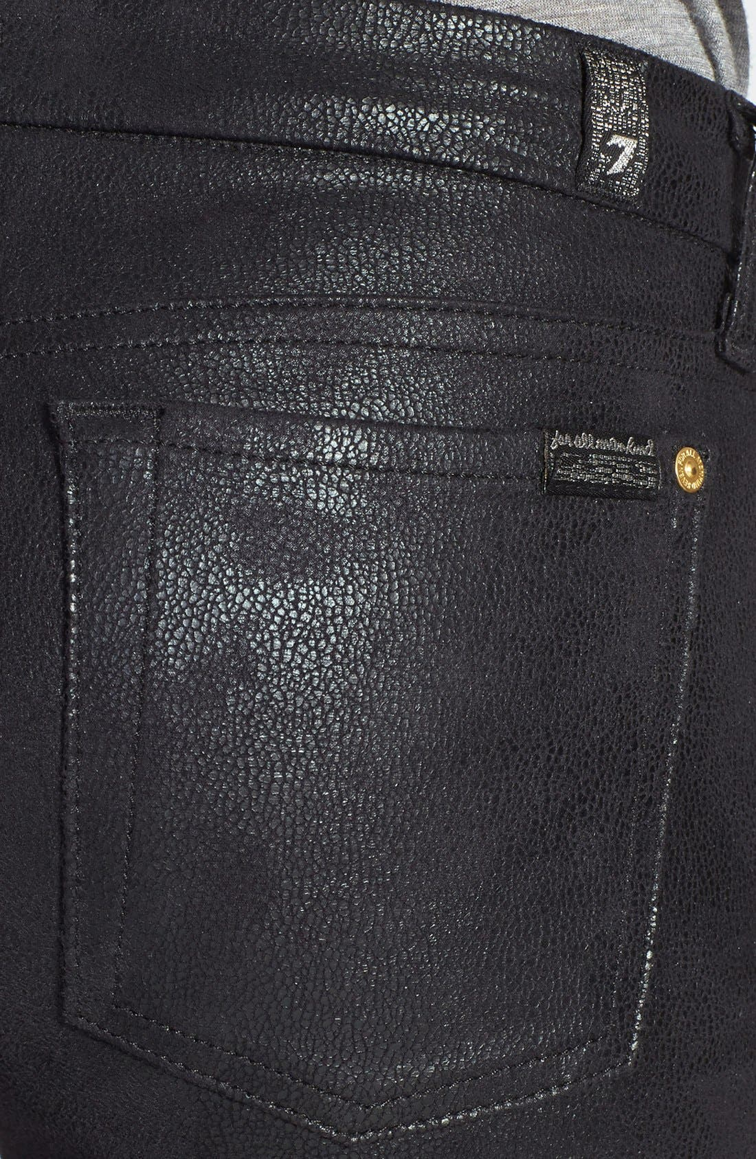 Alternate Image 3  - 7 For All Mankind® 'The Skinny' High Rise Faux Leather Skinny Pants (Black)