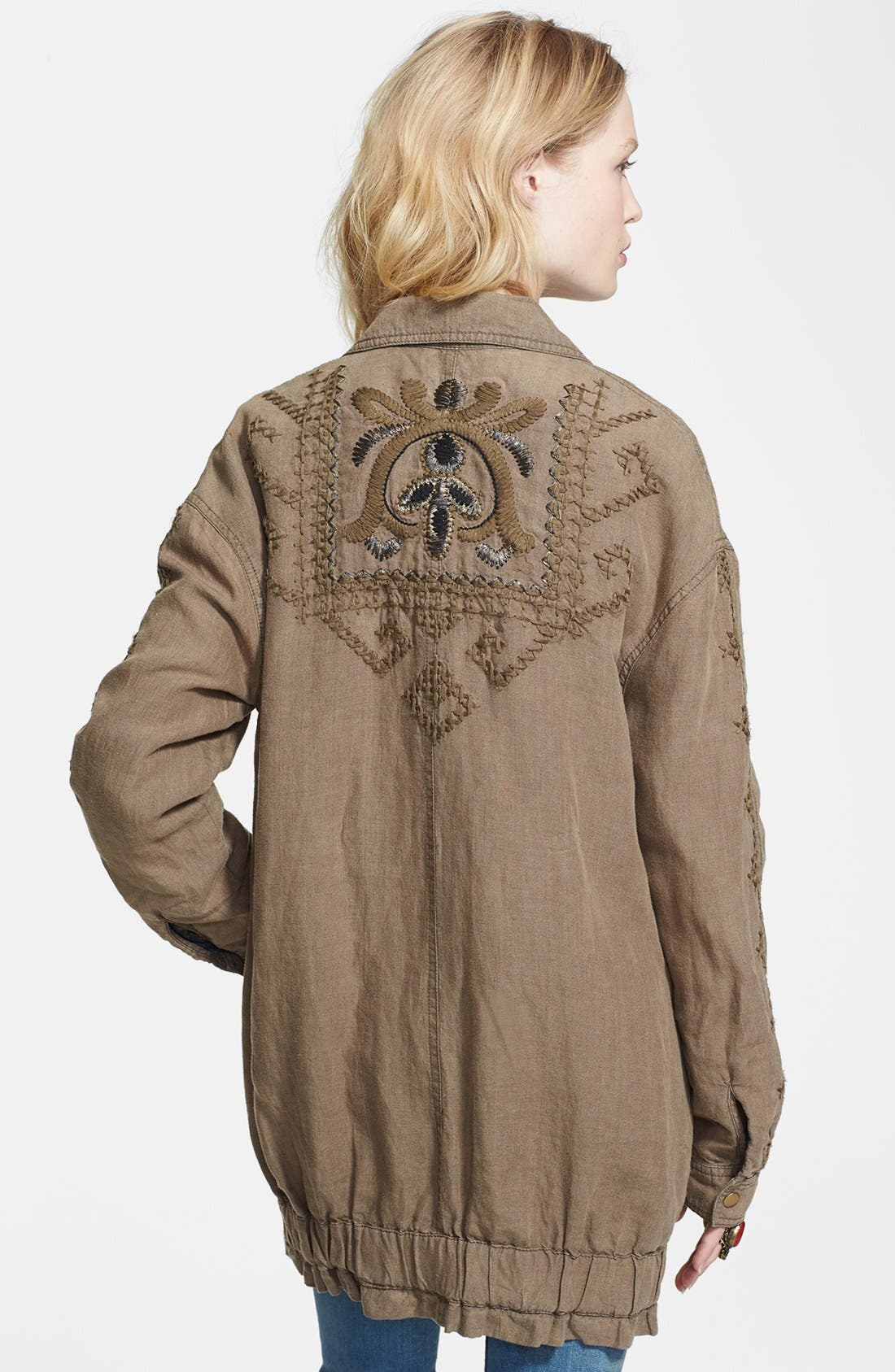 Alternate Image 2  - Free People Embroidered Linen Cargo Jacket