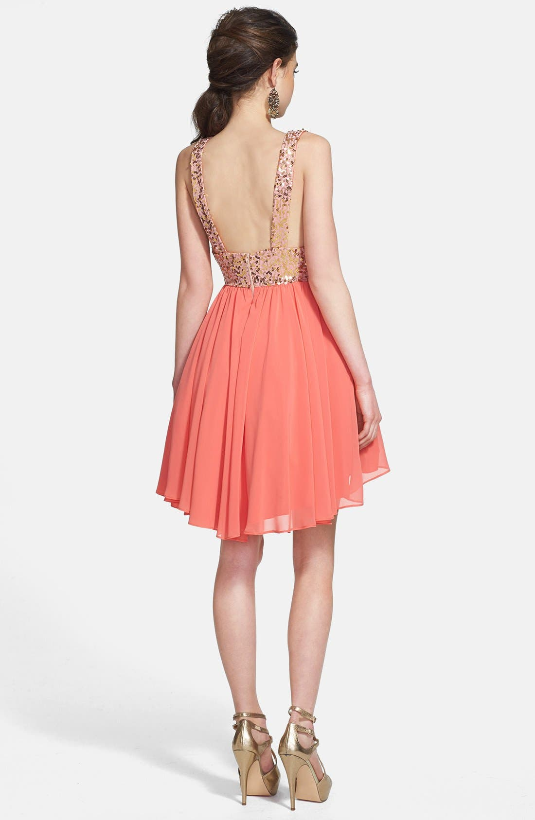 Alternate Image 2  - Way-In Sequin Bodice Fit & Flare Dress (Juniors)